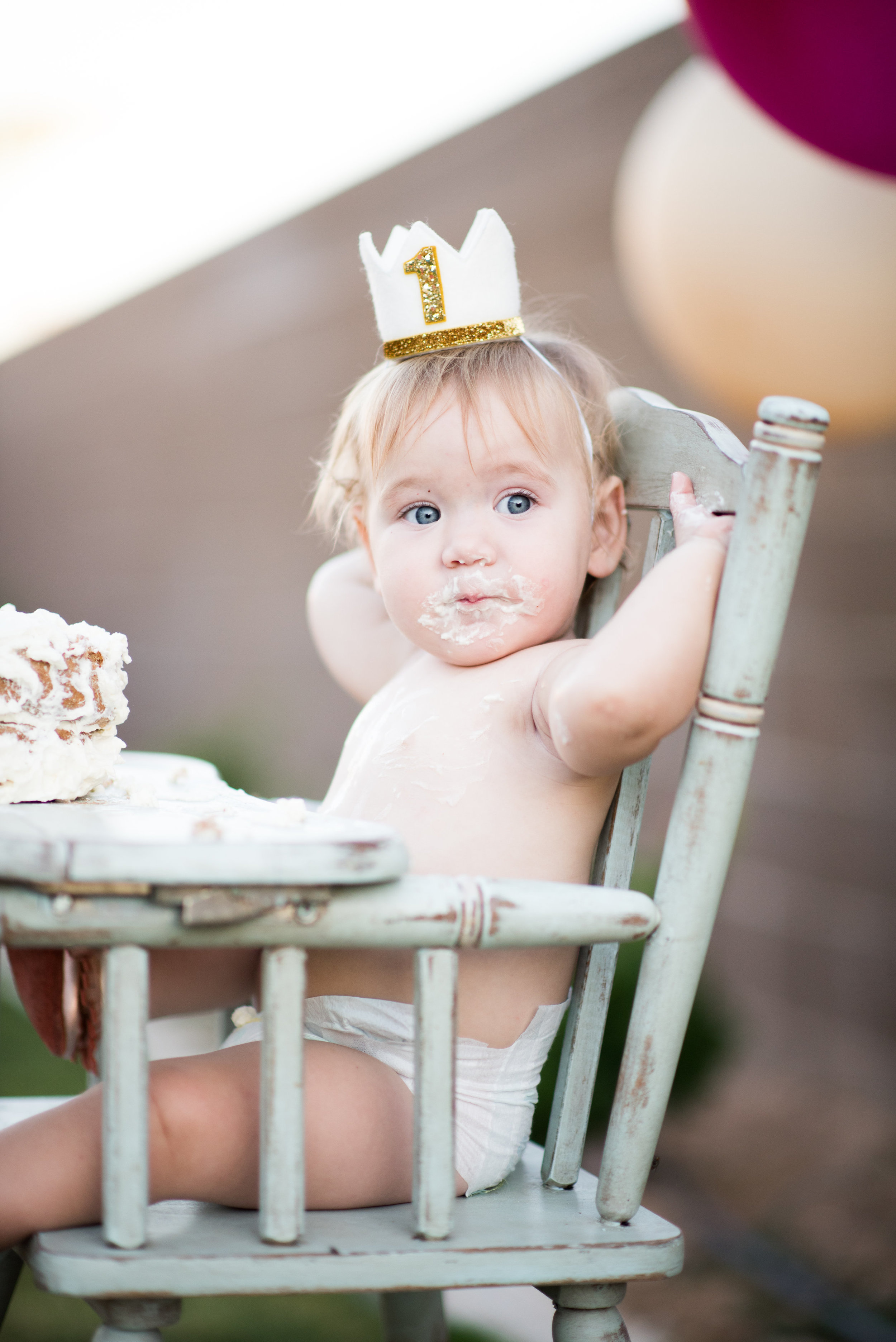 Baby Girl's First Birthday Cake Smash