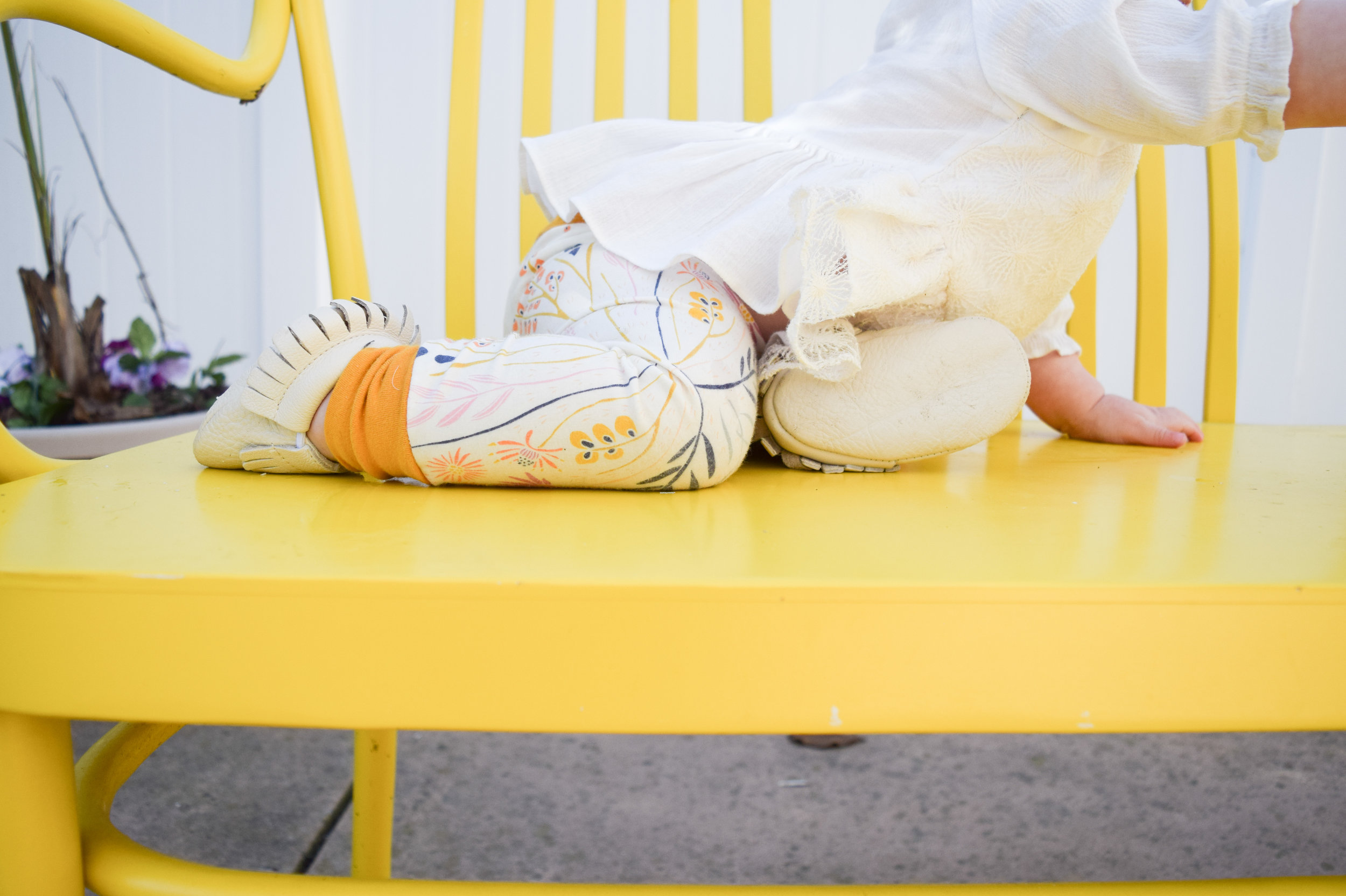 Baby Fashion - Yellow Floral Print Baby Leggings