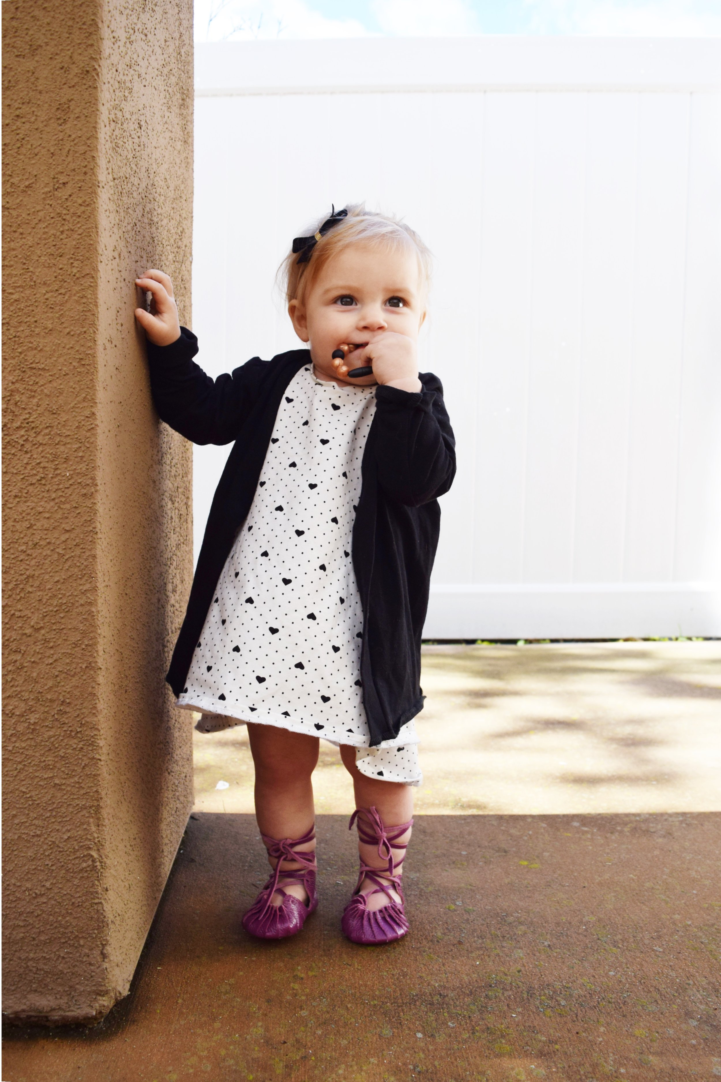 BABY FASHION | Baby Heart Dress, Baby Lace Up Ballet Flats, Black Baby Cardigan