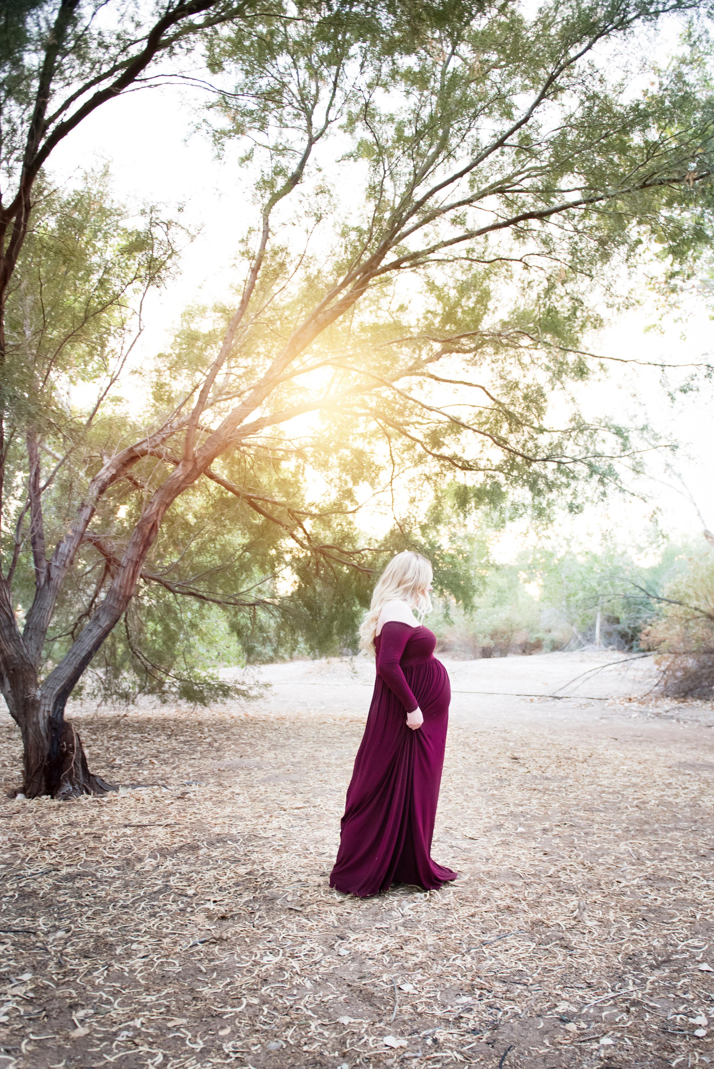 Forest Maternity Photos - Maroon Maternity Photo Dress - Reflecting Grace Photography