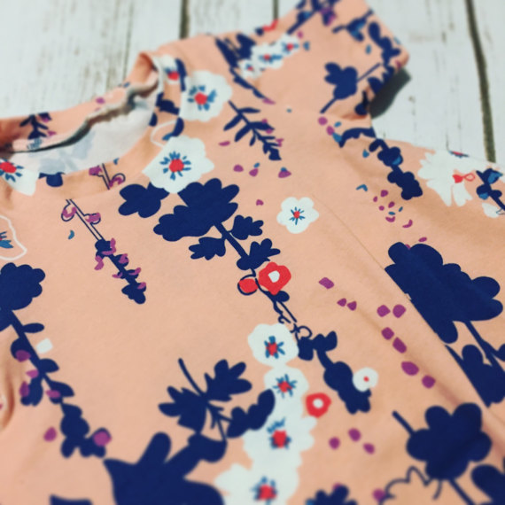 Peach Floral Spring Baby Dress
