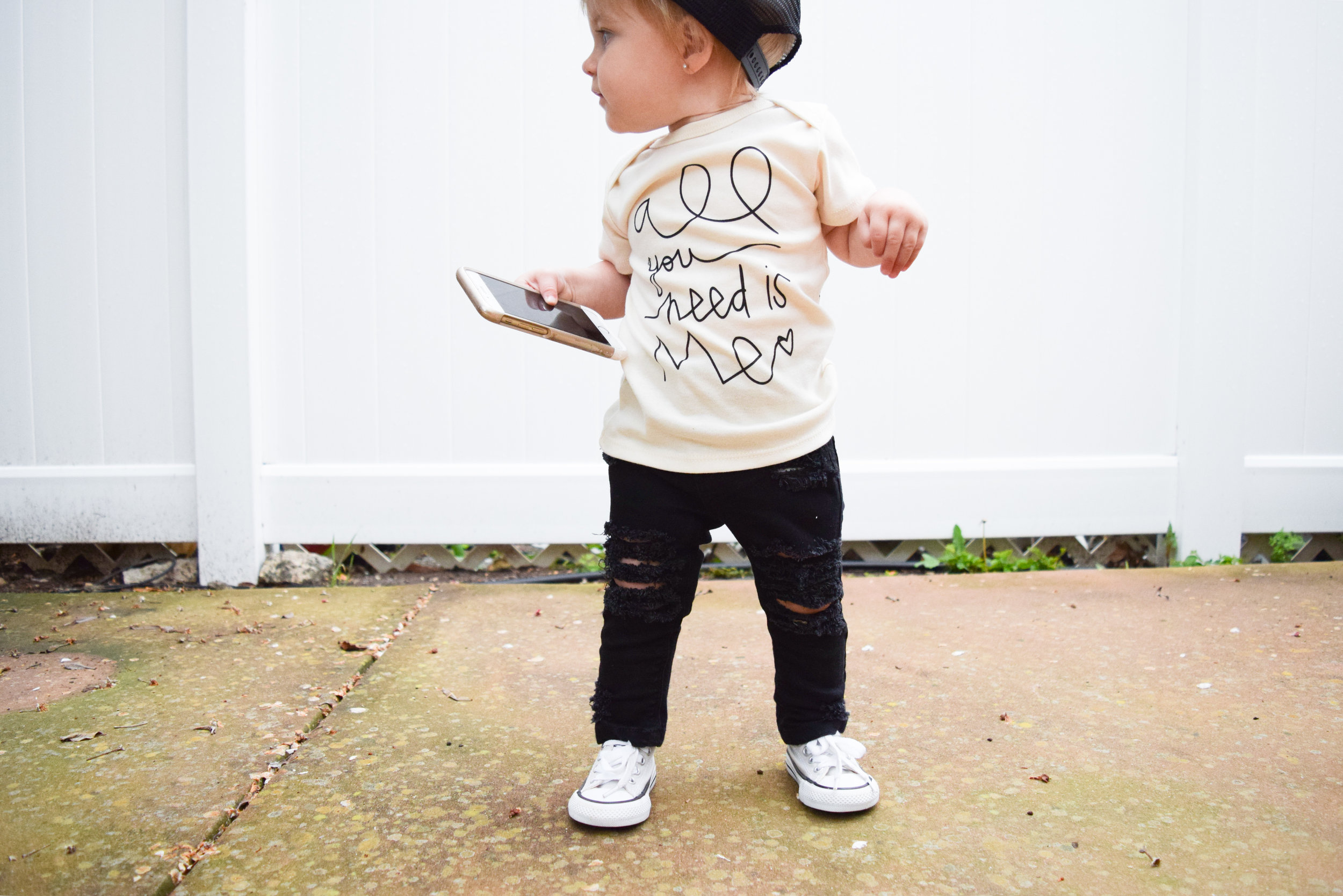 BABY FASHION | Unisex Baby Shirt, Baby Ripped Black Jeans, Baby Converse