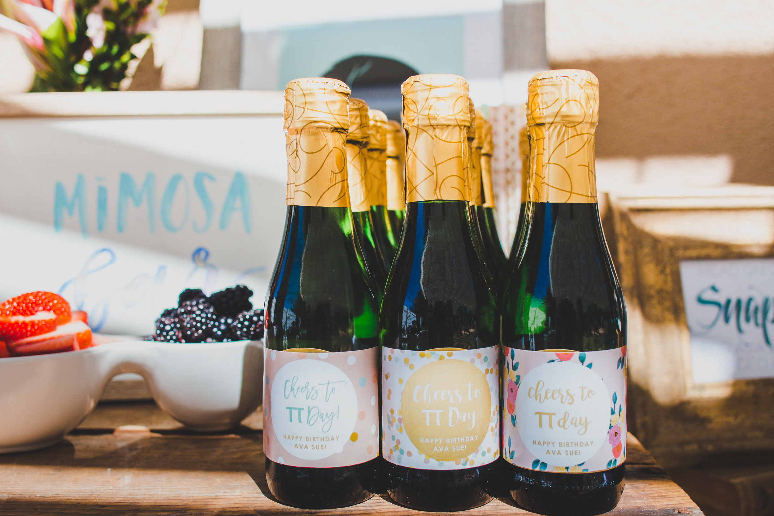 Personalized Champagne Bottle Labels - A Vintage Chic Pi Day Themed 1st Birthday Party