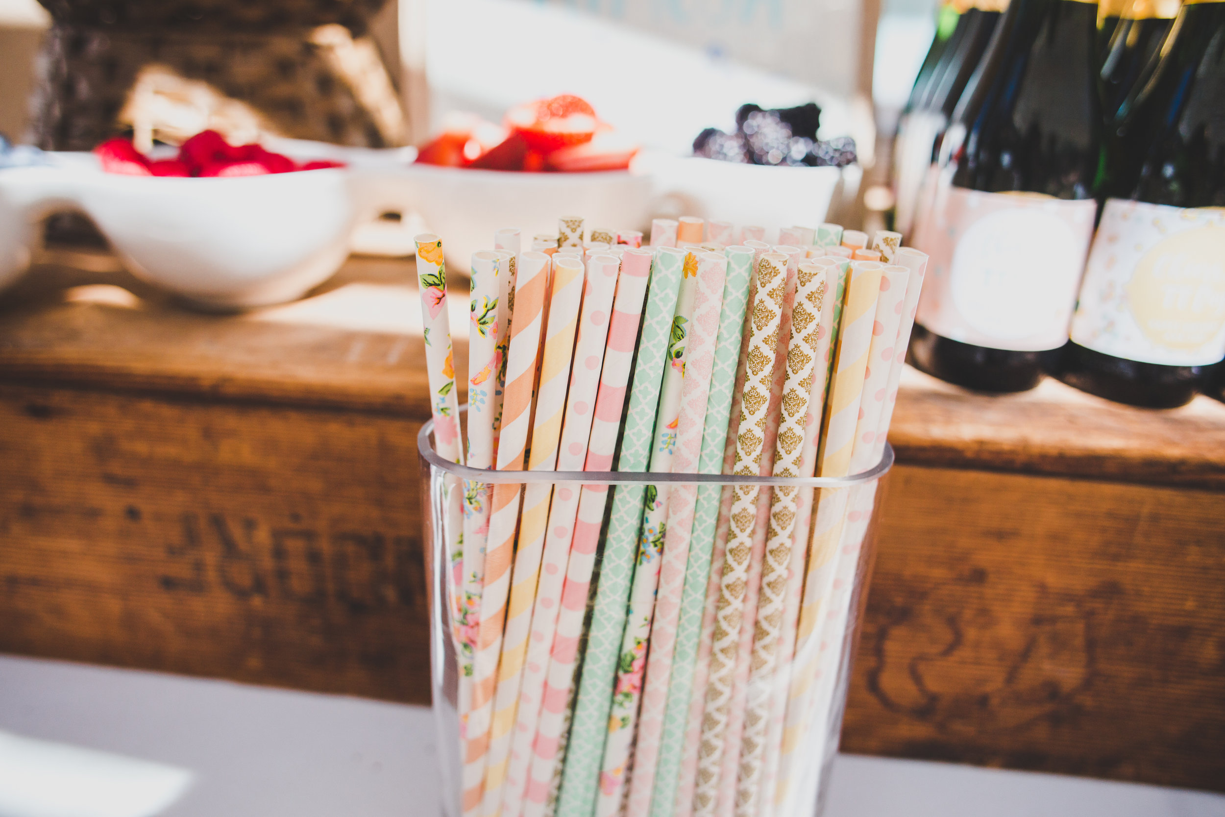 Vintage Floral Paper Straws - A Vintage Chic Pi Day Themed 1st Birthday Party