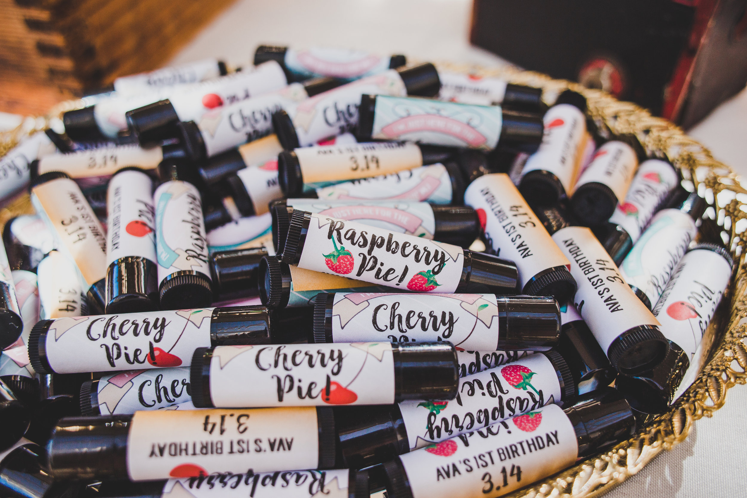 Personalized Chapstick First Birthday Favors - A Vintage Chic Pi Day Themed 1st Birthday Party