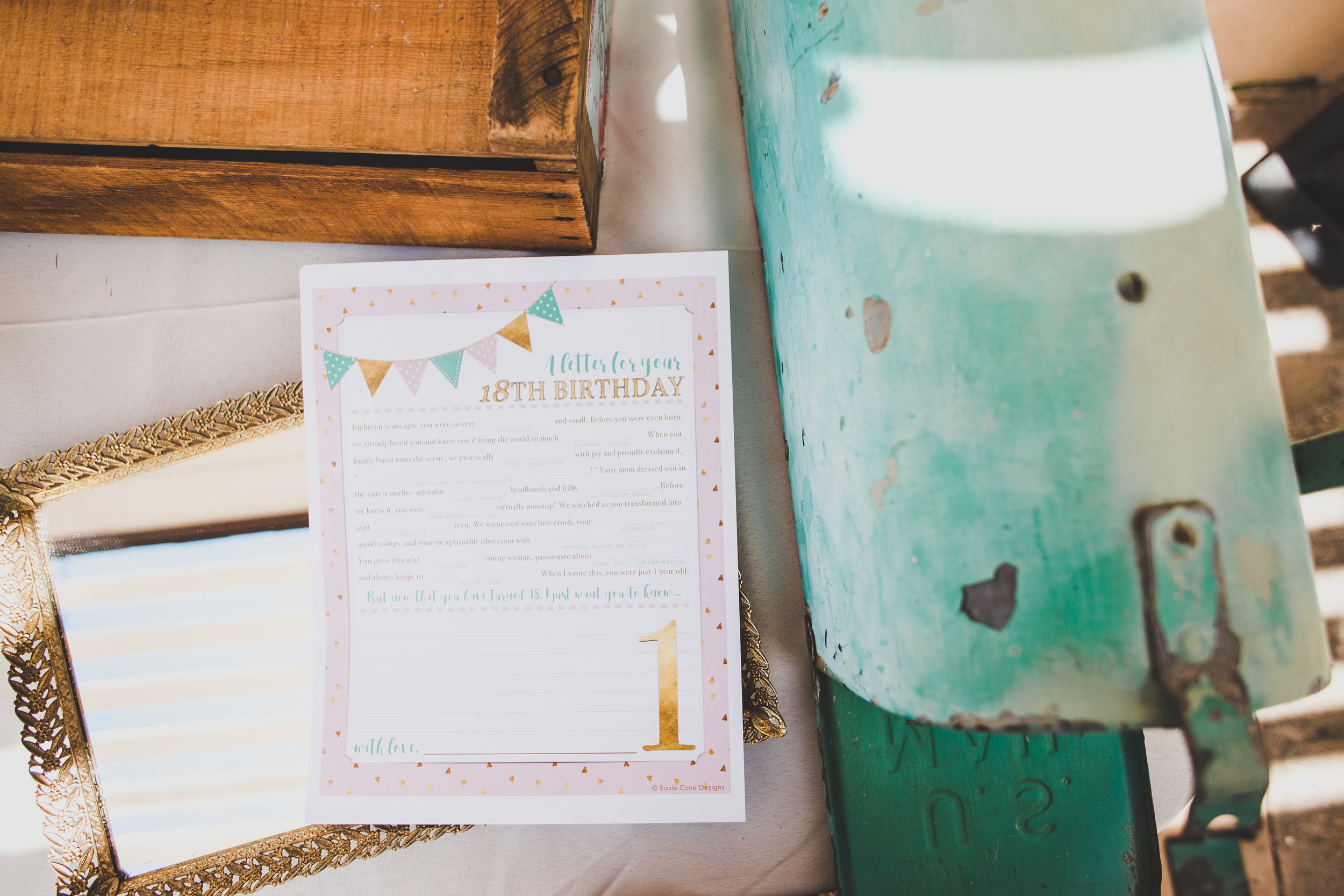 Birthday Party Mad Libs - Letters to Ava - A Vintage Chic Pi Day Themed 1st Birthday Party