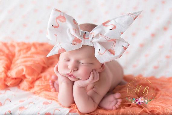 Flamingo Baby Head Wrap