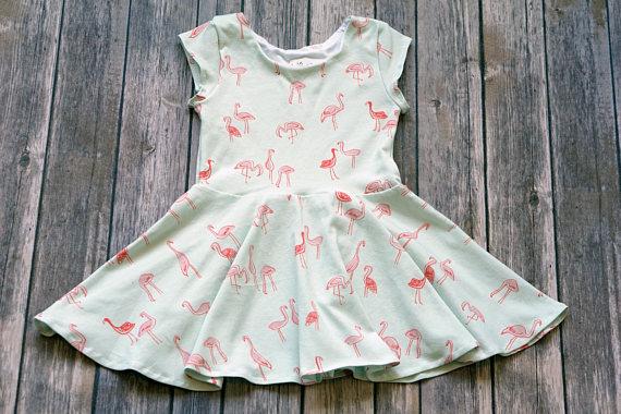 Kids-Baby Flamingo Twirl-Swing Dress