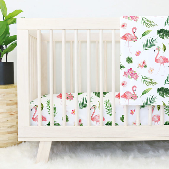 Flamingo Crib Sheet Set