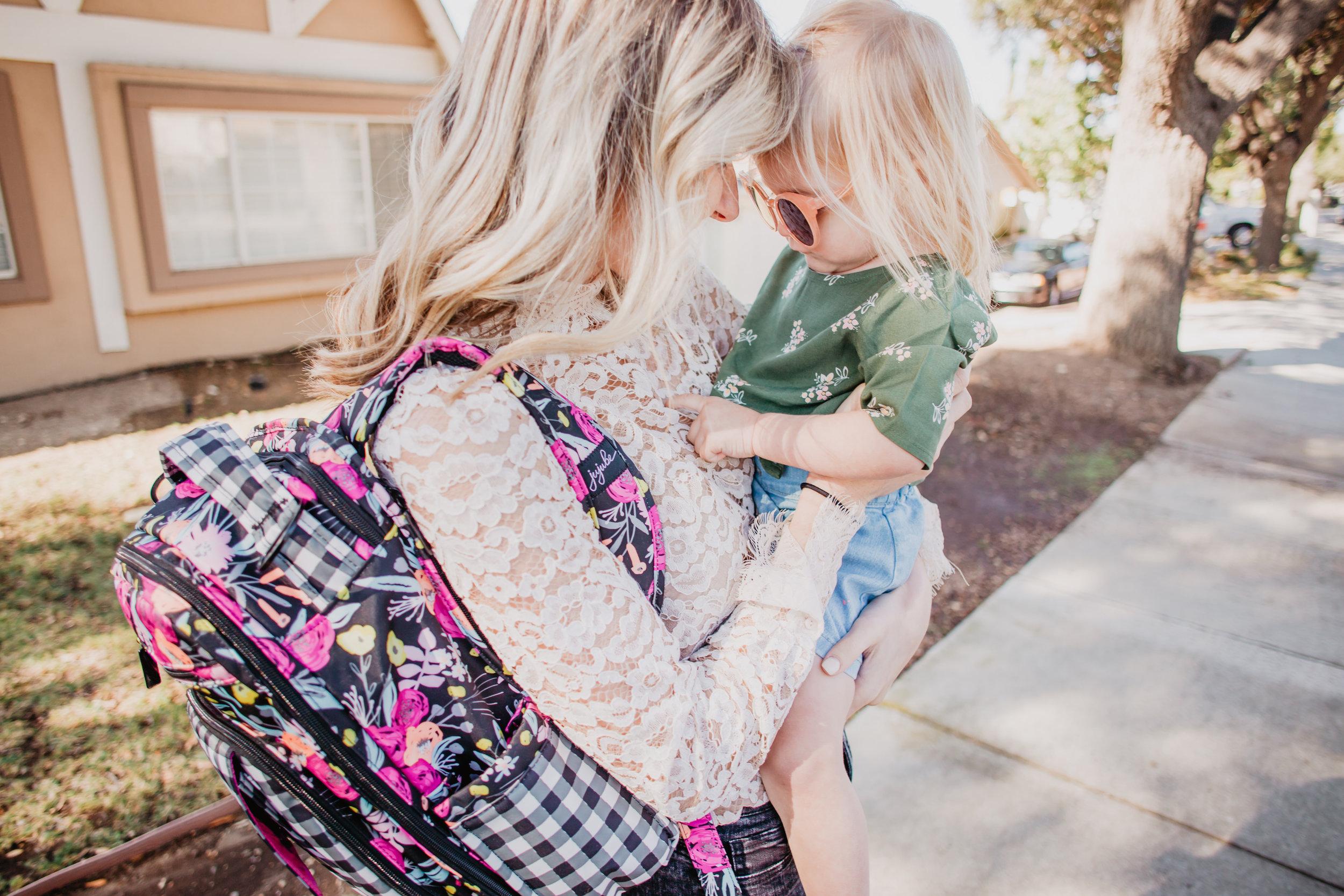 Trendy Diaper Bag Backpacks - Ju-Ju-Be Gingham Bloom Be Right Back -- Mommy Blog - The Overwhelmed Mommy