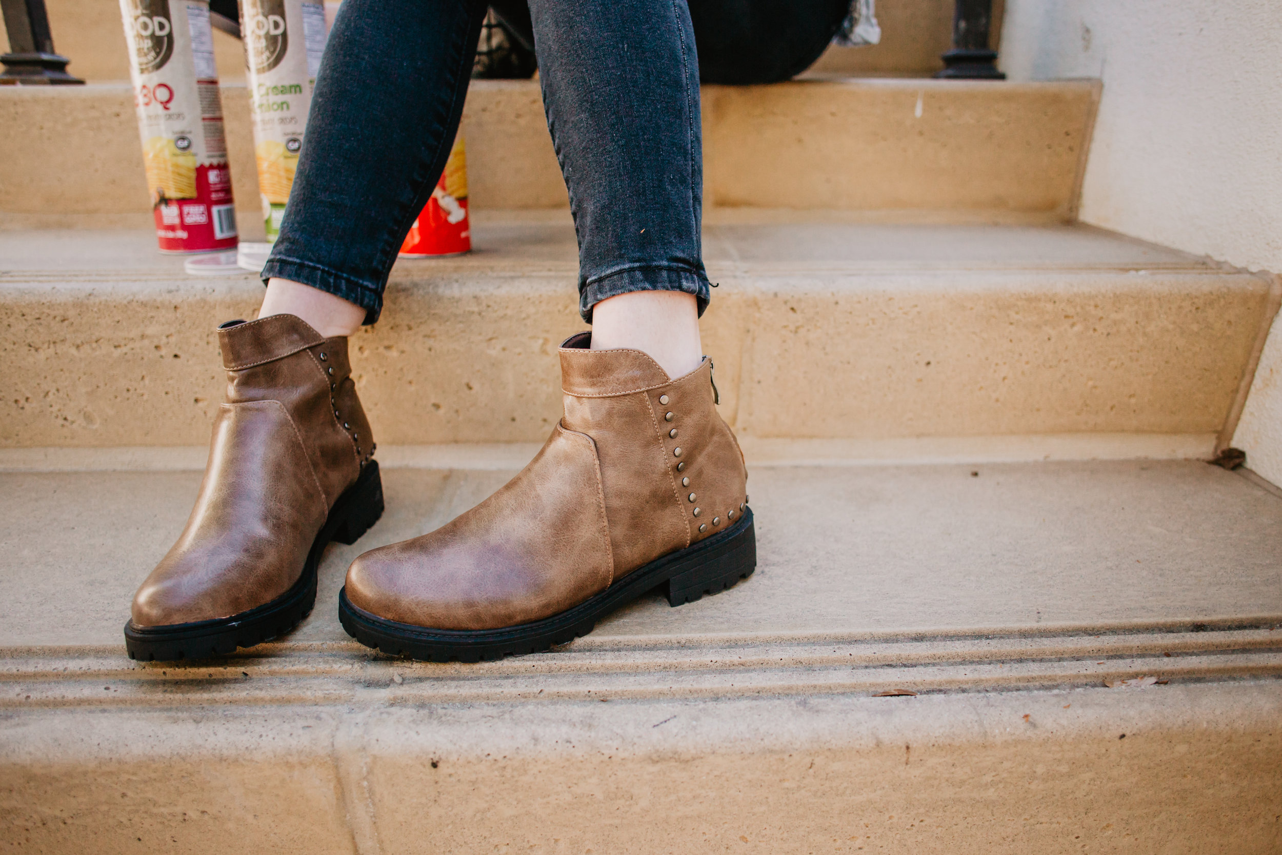 Brown Leather Women's Ankle Boots -- Mom Fashion Blogger - The Overwhelmed Mommy