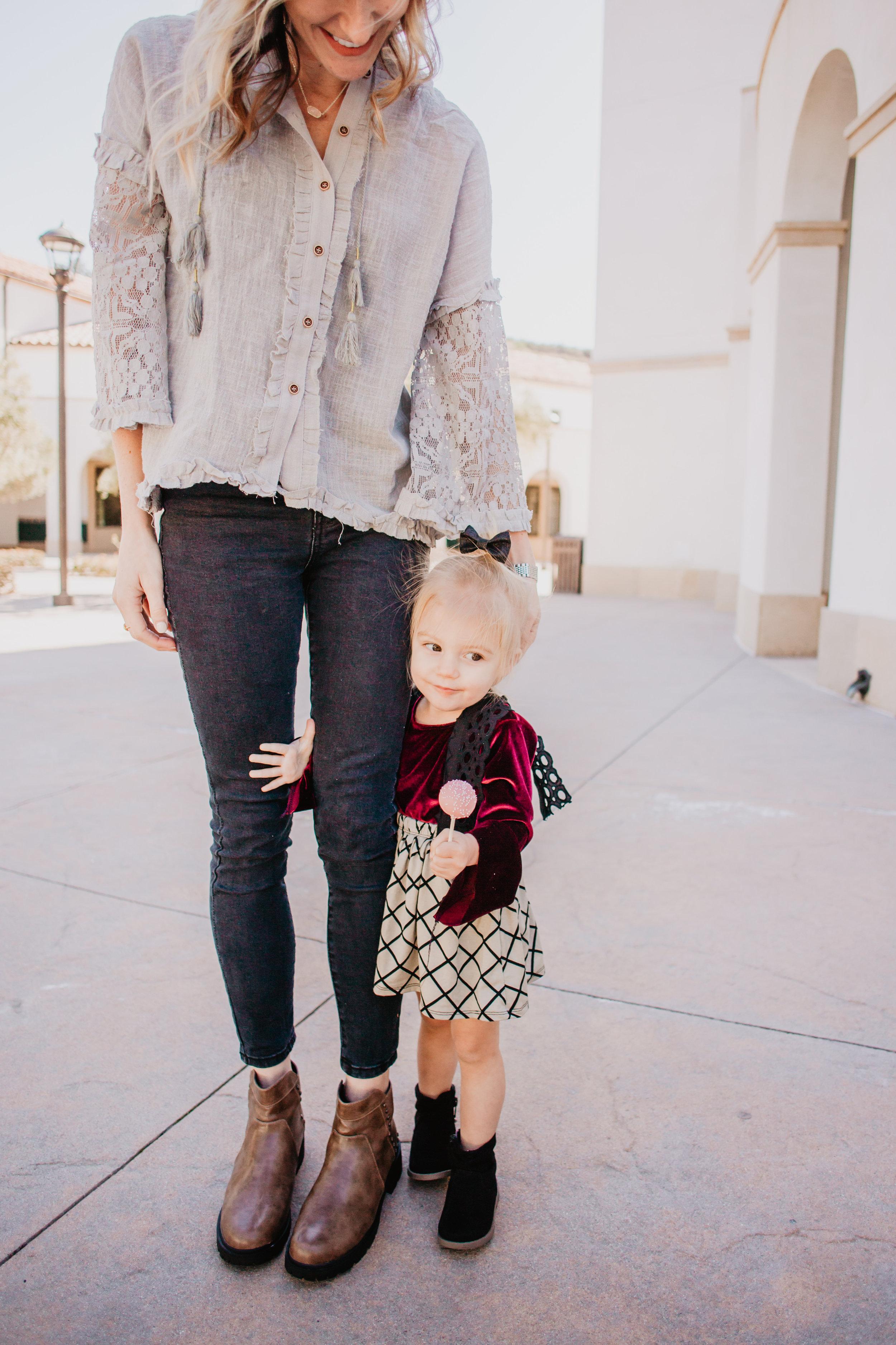 Cute Kids Clothes - Kids Suspender Skirt - Kids Bell Sleeve Velvet Shirt -- Mom Fashion Blogger - The Overwhelmed Mommy