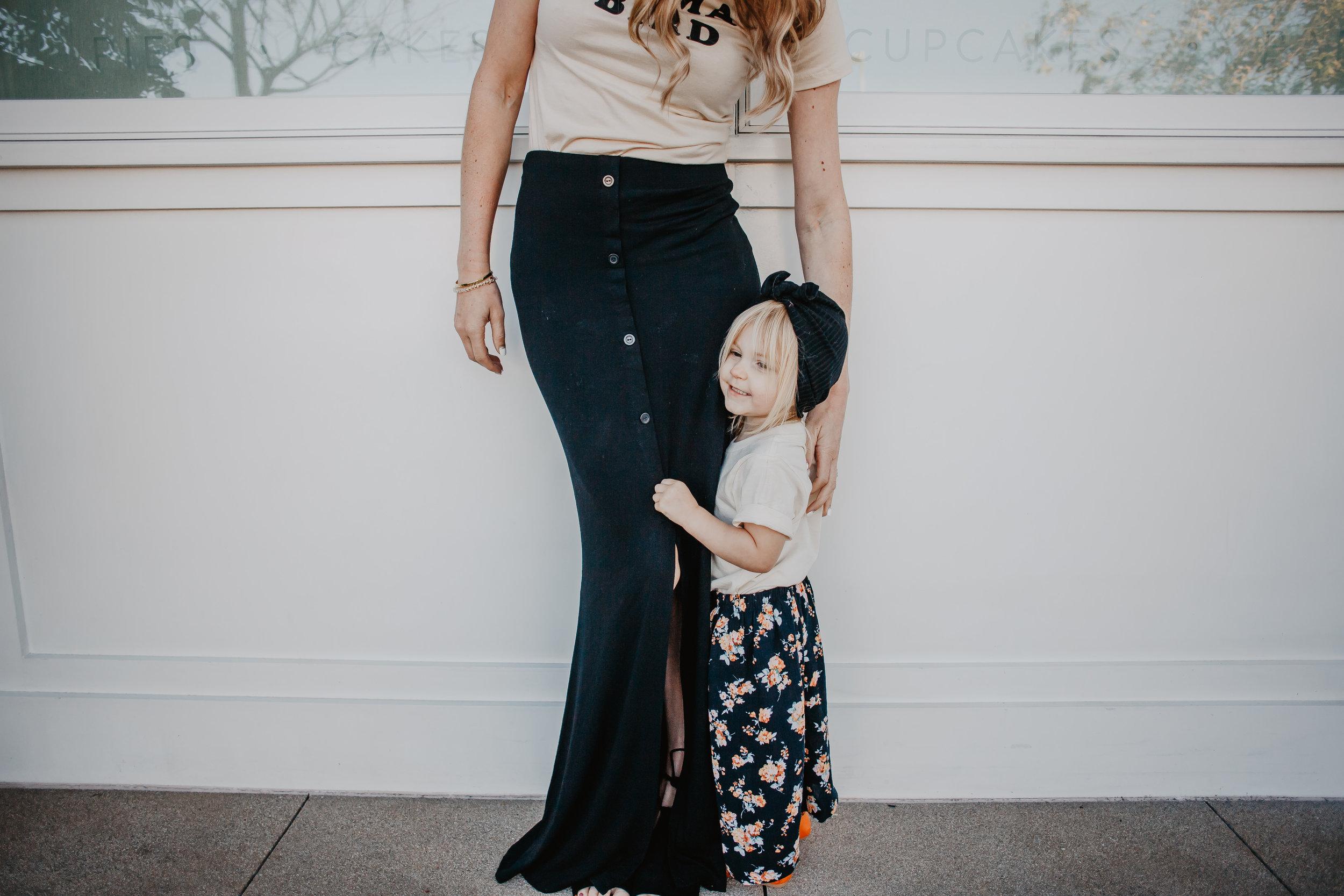 Cute Kids Clothes - Kids Maxi Skirt - Black Women's Maxi Skirt - Mama Bird Shirt