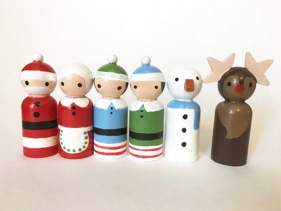 Personalized Wooden Peg Dolls - Toddler Girl Holiday Christmas Gift Ideas Unique - The Overwhelmed Mommy Blogger
