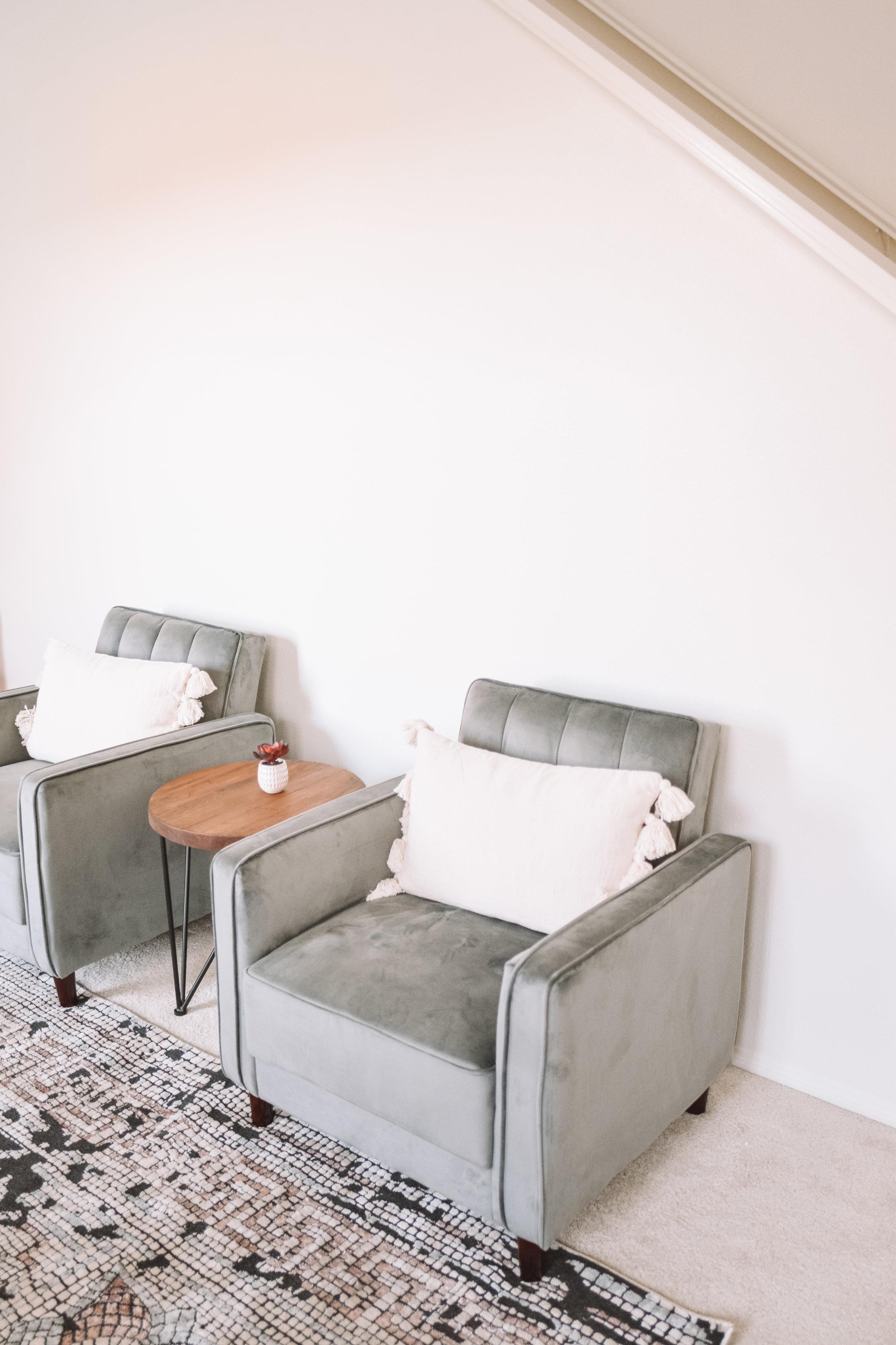 Grey Velvet Formal Living Room Couches - Living Room Front Room Furniture Inspiration - The Overwhelmed Mommy Blogger