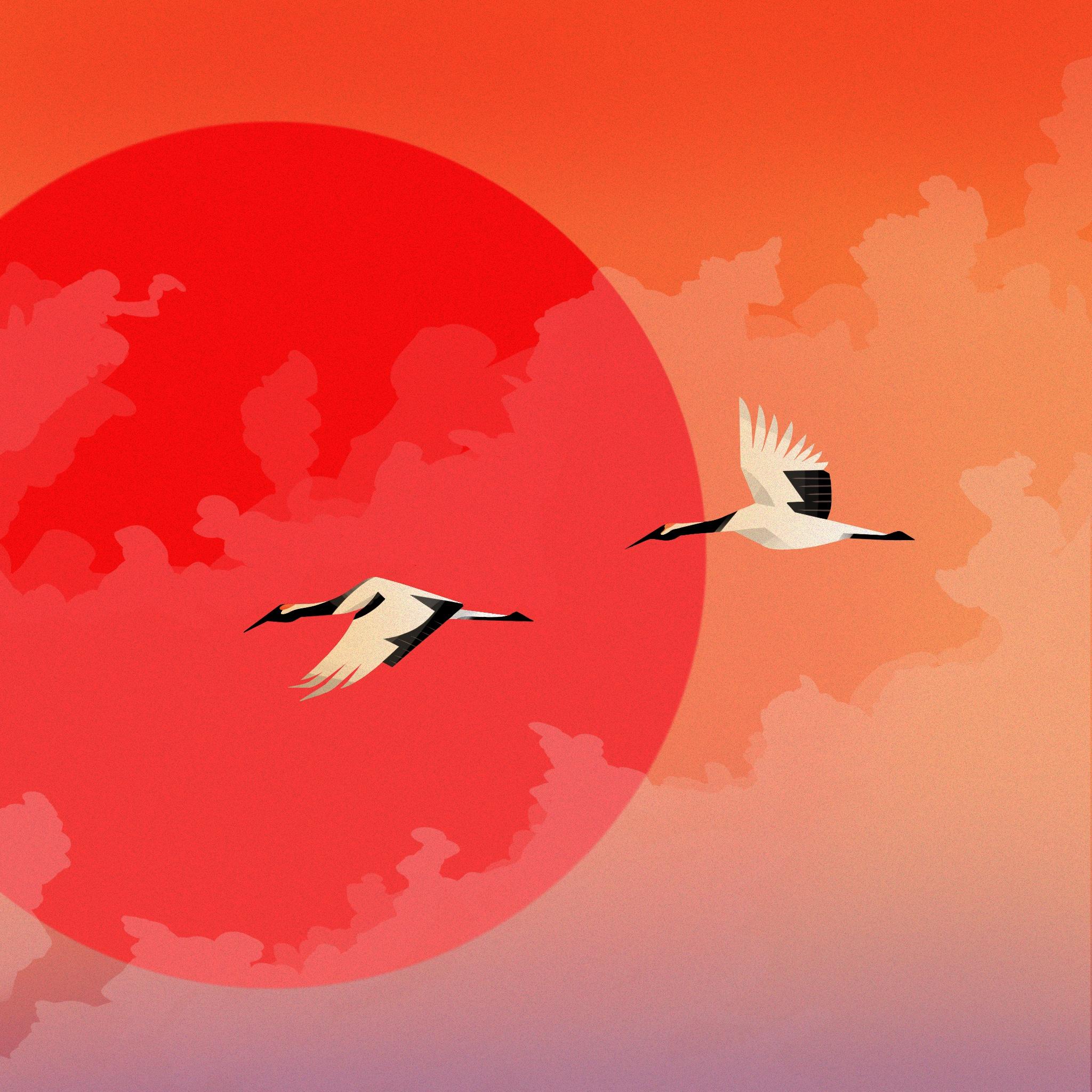Red-Crowned Cranes Illustration