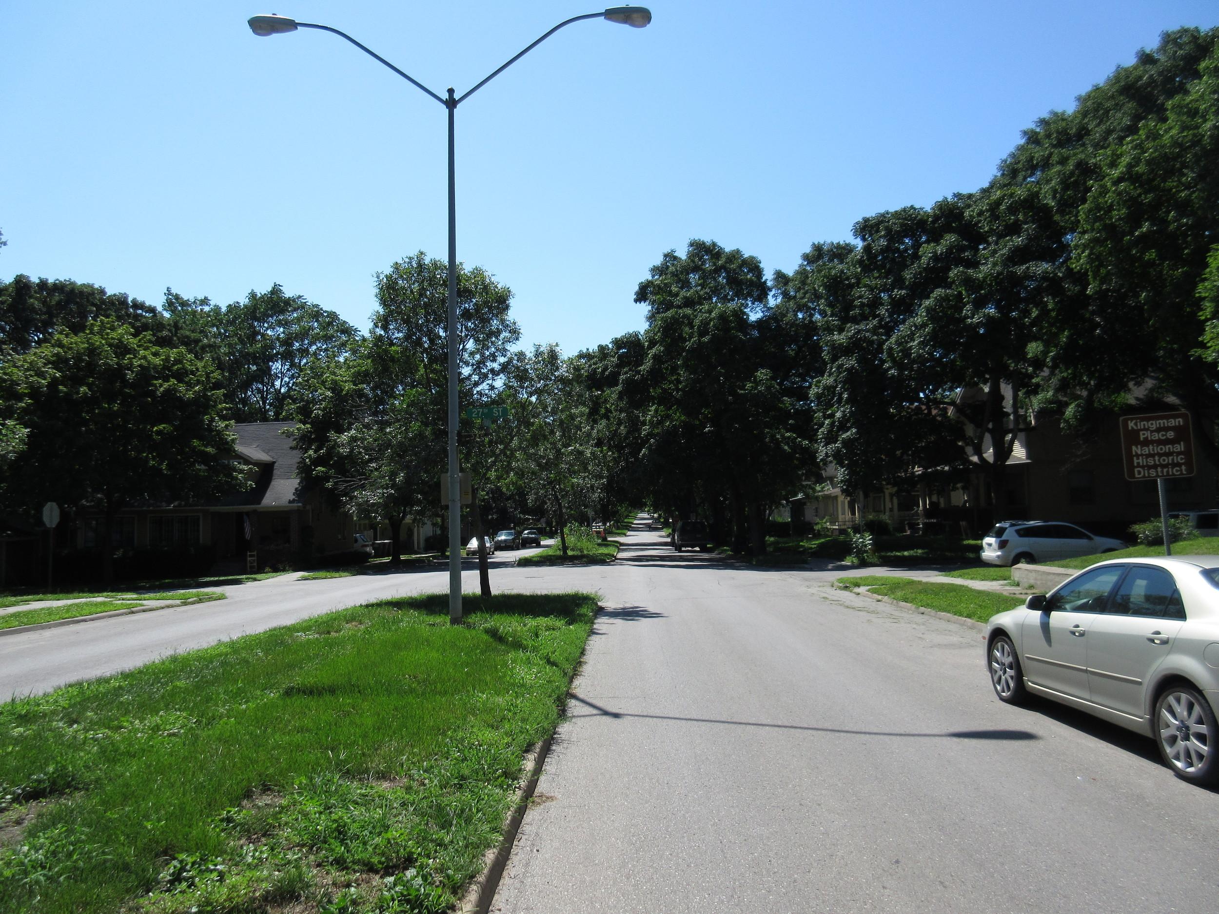Looking west on Kingman Boulevard.