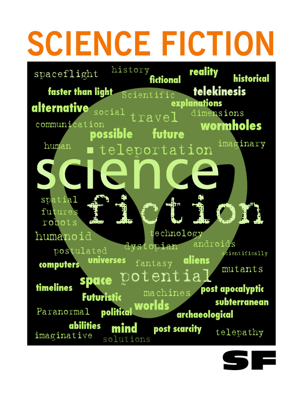 Part of a set of word cloud genre signs for a 4-8 school library.