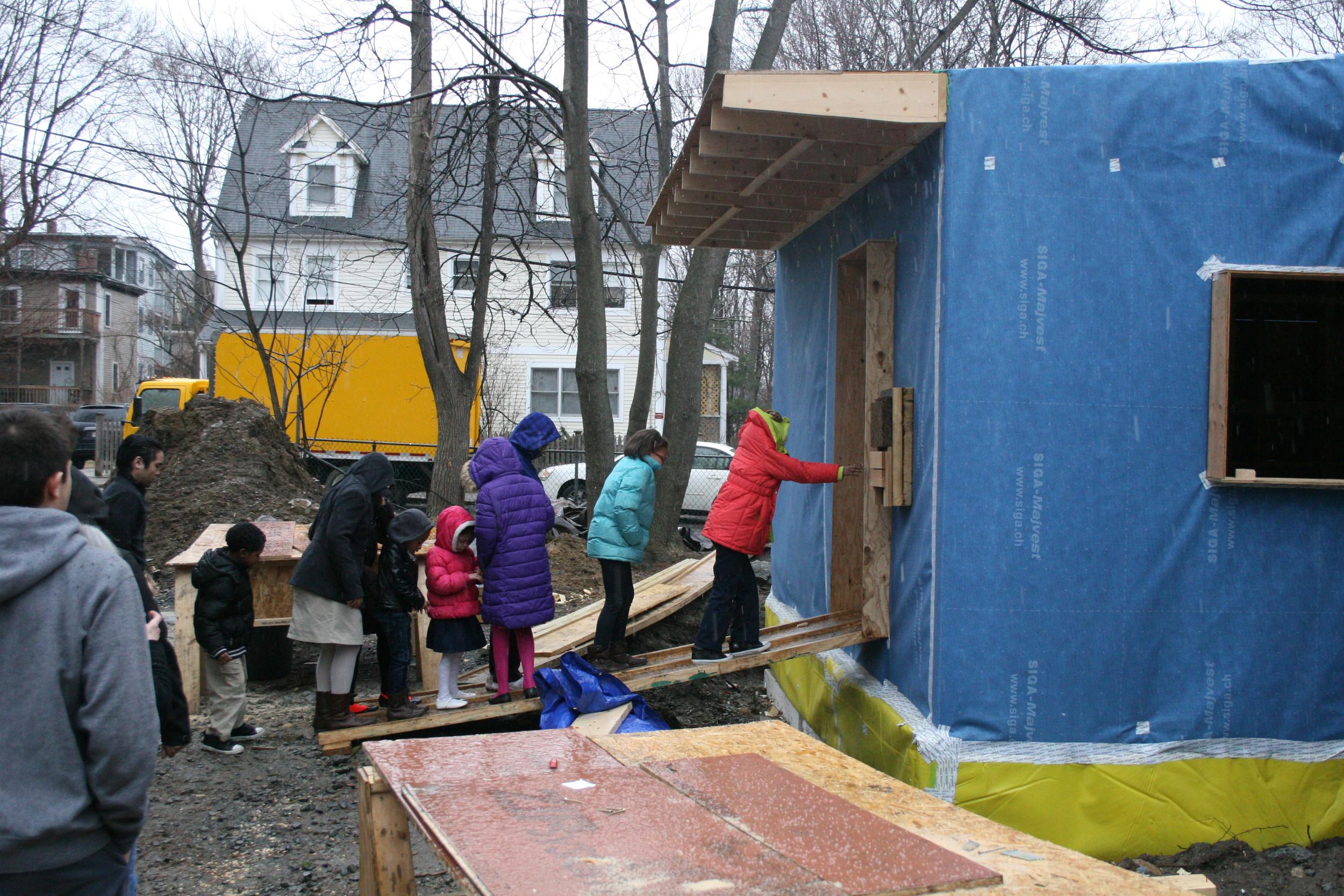 kids visiting construction