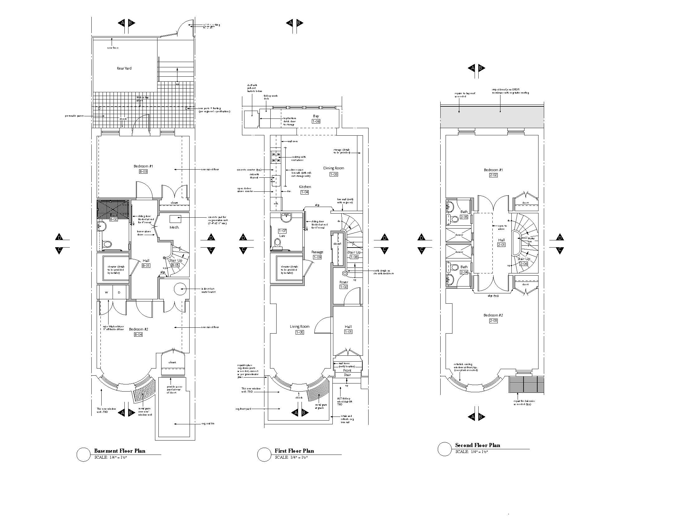 Plans  - Basement, 1st and 2nd