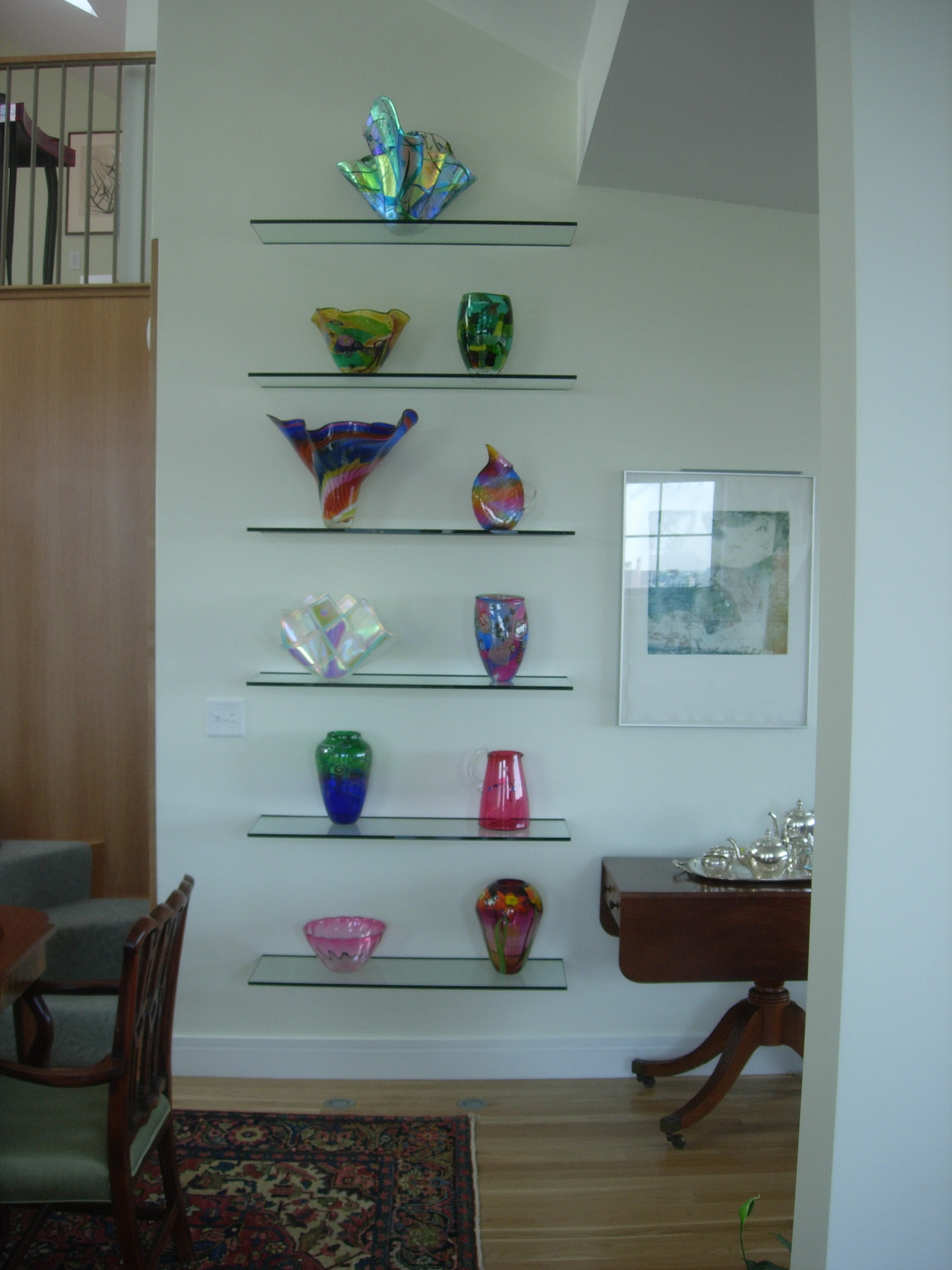 lighted glass shelves