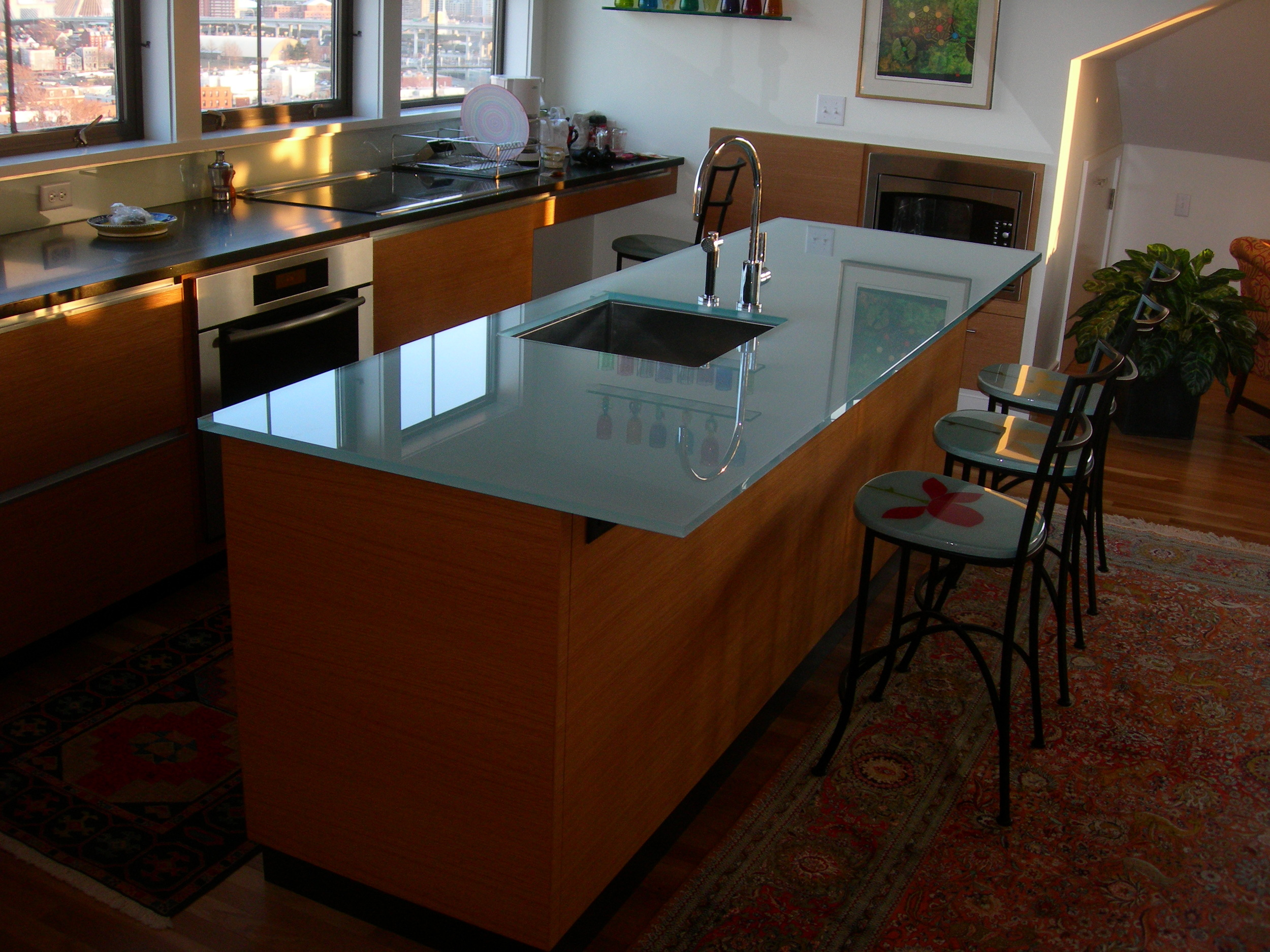 Glass kitchen island
