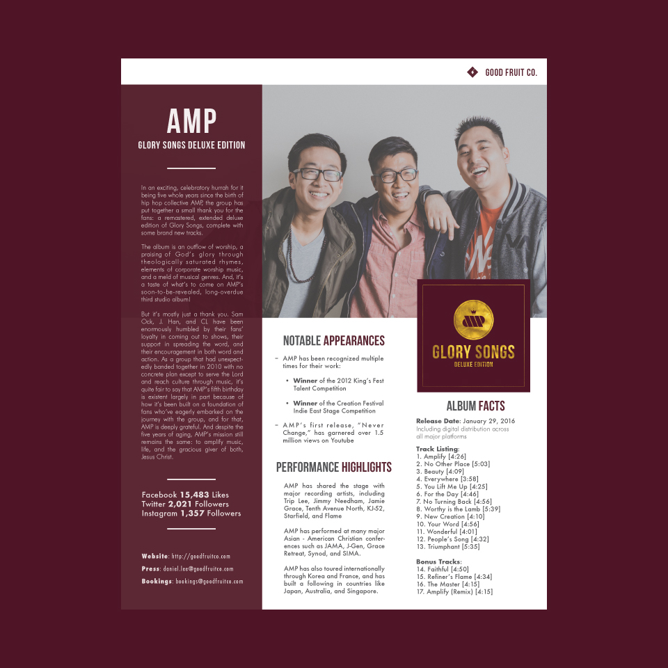 AMP's 'Glory Songs (Deluxe Edition)' One Sheet
