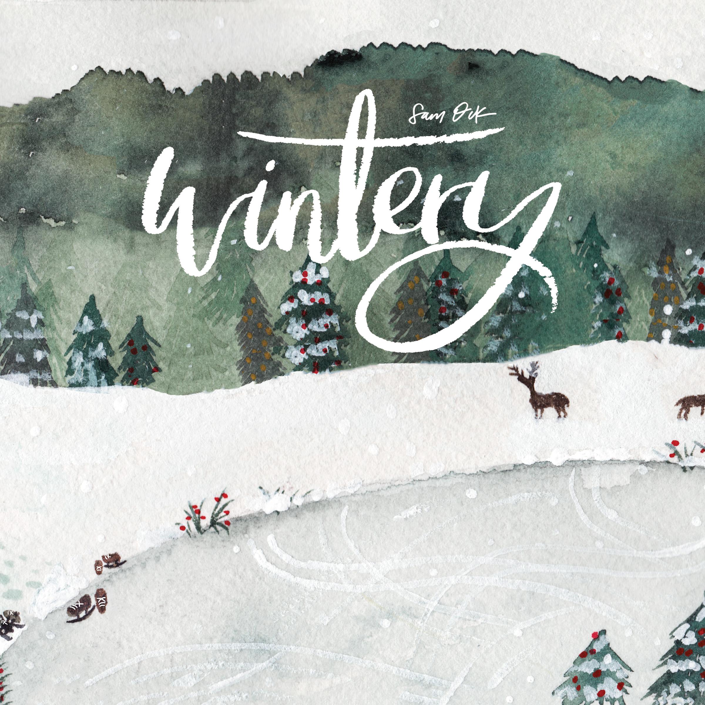 Sam Ock - Wintery Holiday Seasonal Christmas Album Cover Artwork Art
