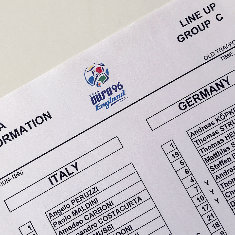 Italy v Germany Official Euro 96 Team Sheet