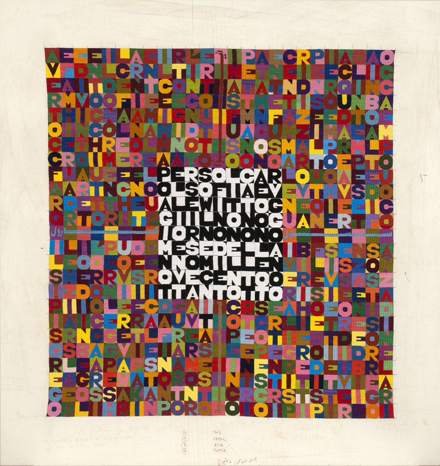 Alighiero Boetti, Per Sol, Carol, Sofia, Eva LeWitt, Oggi il nono giorno nono mese dell'anno mille novecento ottantotto (For Sol, Carol, Sofia, Eva LeWitt, Today the ninth day of the ninth month of the year nineteen hundred and eighty-eight), 1988. Embroidery on fabric, 57 x 55 inches. LeWitt Collection, Chester, CT. © 2016 Artists Rights Society (ARS), New York / SIAE, Rome.