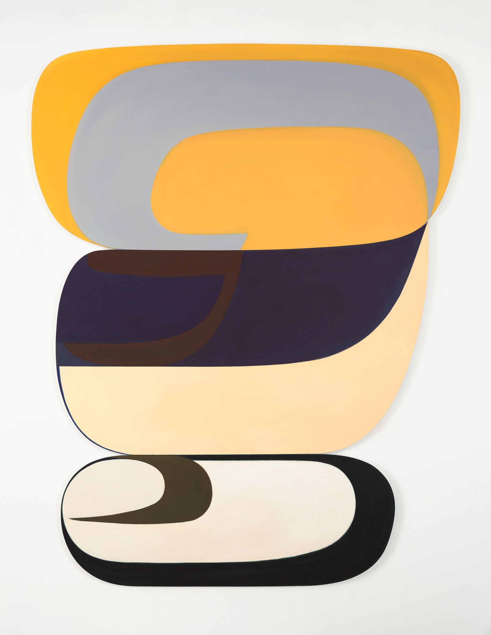 Joanna Pousette-Dart 3 Part Variation #5, 2011-2013 Acrylic and canvas on shaped wooden panels 94 x 73 inches (238.8 x 185.4 cm) © Joanna Pousette-Dart; Courtesy of the artist and Luhring Augustine, New York