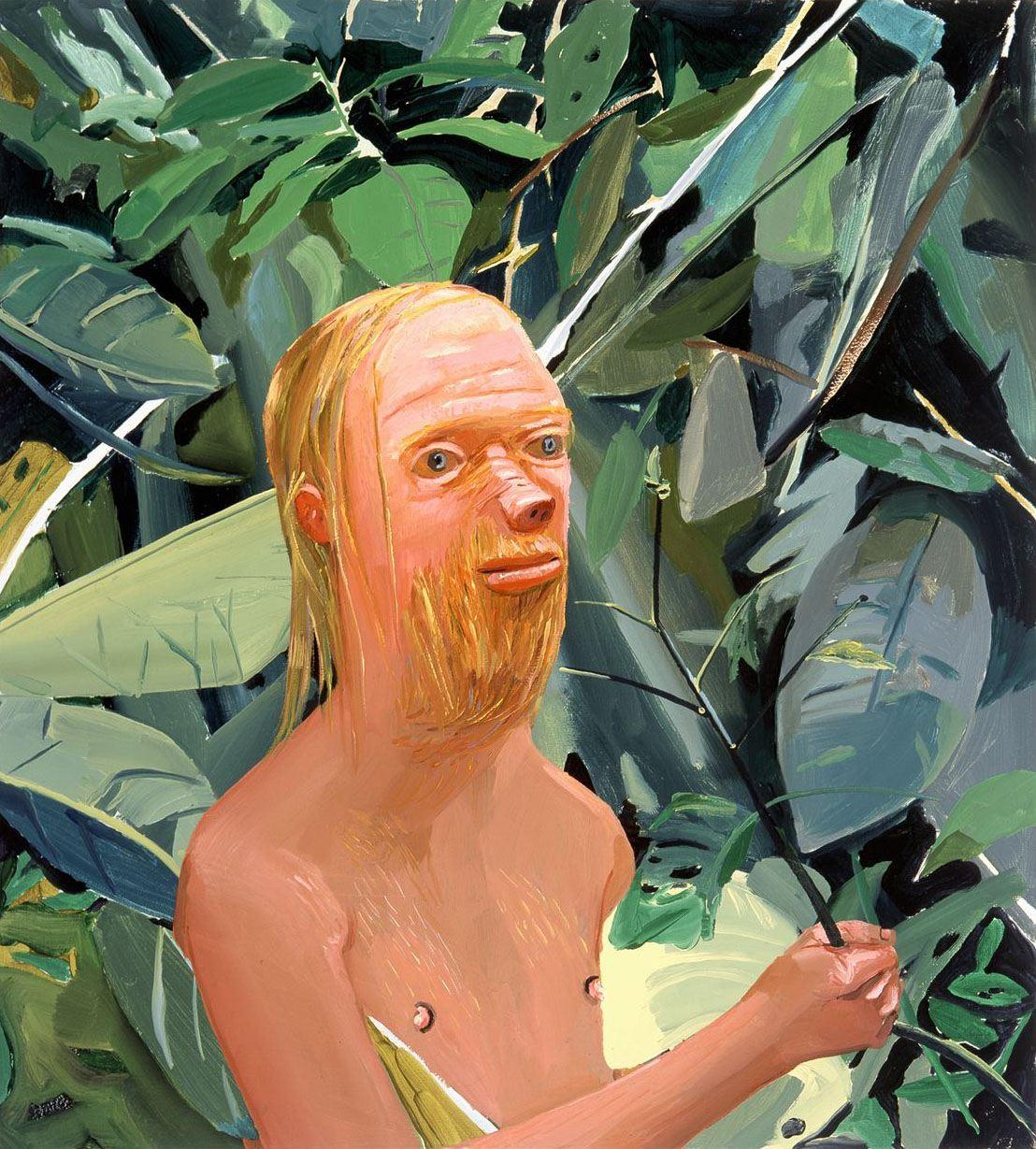 Dana Schutz FRANK AS A PROBOSCIS MONKEY 2002 Oil on canvas 36 x 32 inches 91.4 x 81.3 centimeters Courtesy Petzel Gallery CR# DS.36741