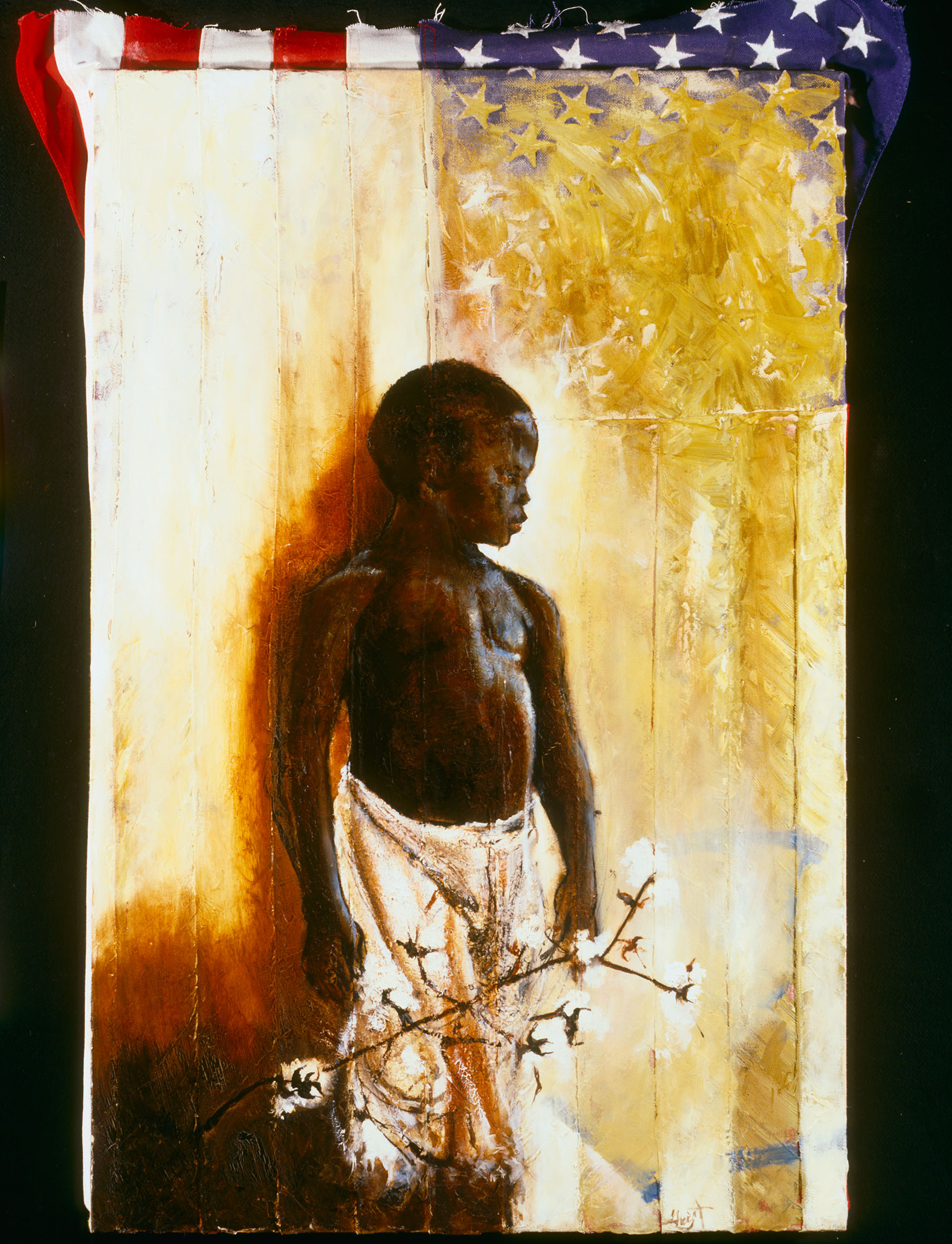 """American Boy Buffalo Warrior  (2007), ink and oil on 100% cotton flag, 28 x 18"""""""