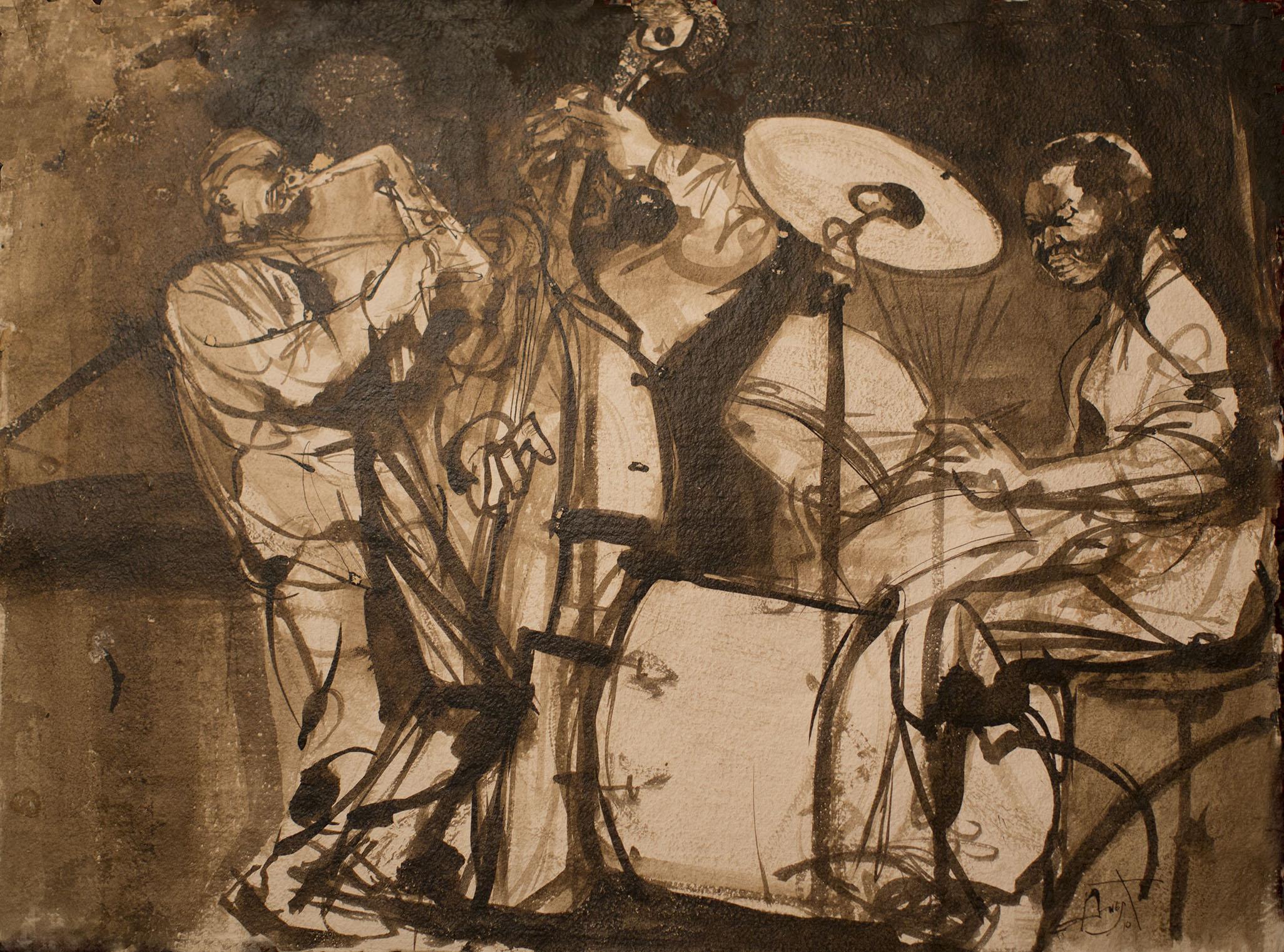 "Kenny Garrett Band ,  Tokyo  (1997), Cuttlefish ink on Punjab handmade paper, 24 x 18"""