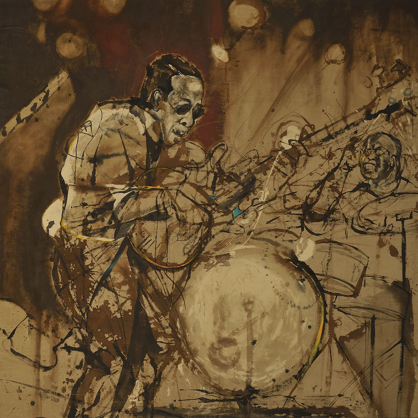"""Stanley Clark live in Sénégal  (2012), ink and oil on linen, 72 x 72"""""""