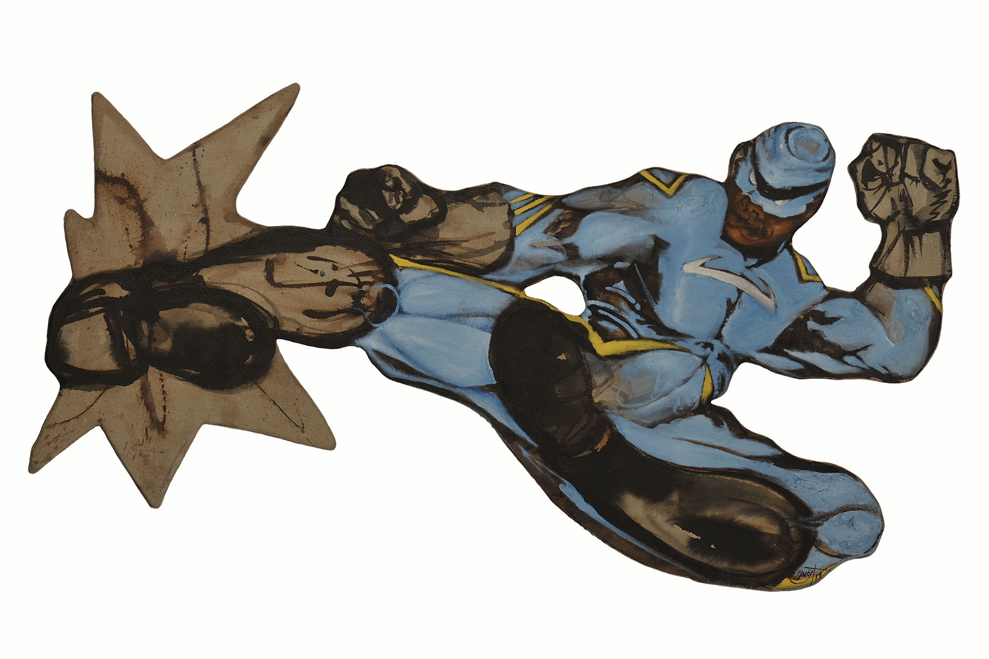 """Side Kick  (2016) custom stretcher, ink and oil on linen, 48 x 28"""""""