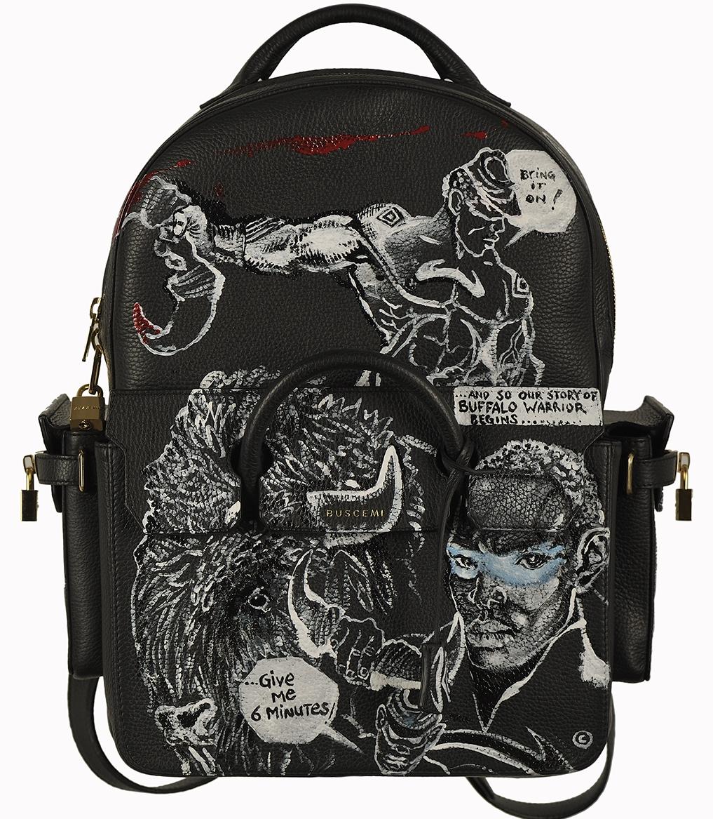 Chaz Guest & Jon Buscemi collaboration,  Buffalo Warrior  leather backpack