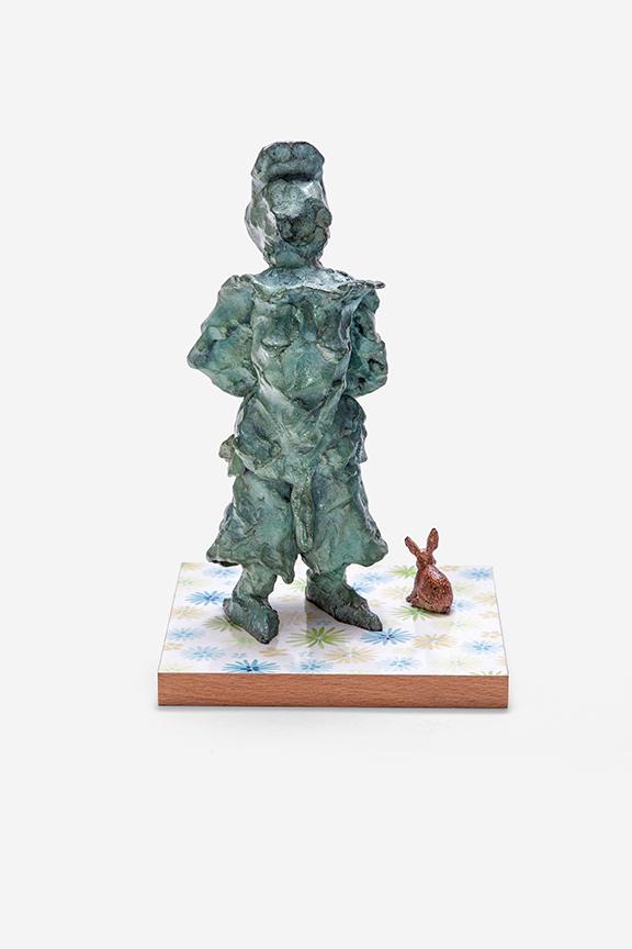 wir machen das klar (mit Kaninchen),  2012, bronze, wood, pigment print on plastic foil, glitter, 28 × 18 × 18 cm (11.02 × 7.08 × 7.08 in) © Jonny Star, Photo: Jens Bösenberg
