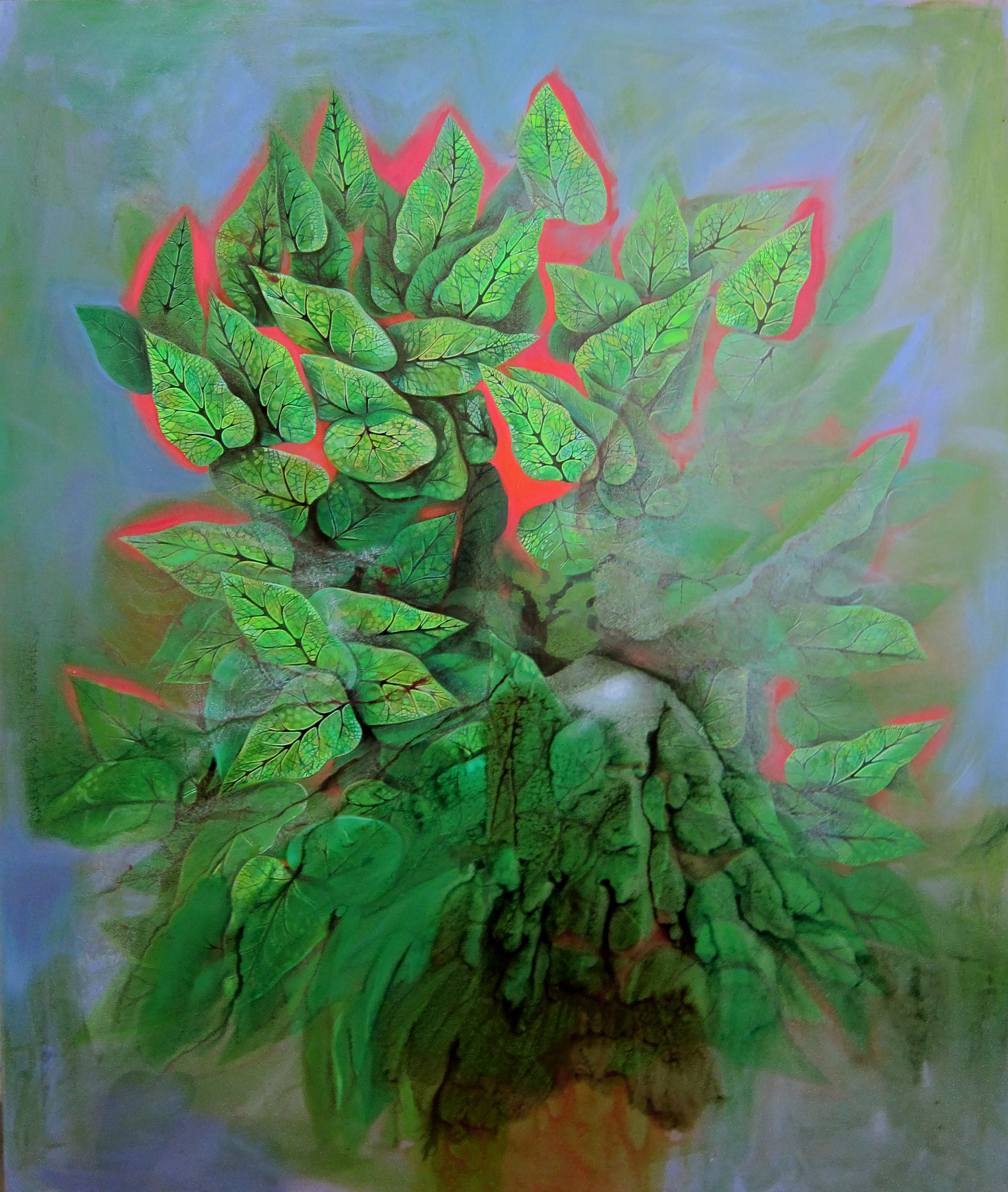 Jennifer Coates,  Large Houseplant , 2017, acrylic on canvas, 72x60 in. Courtesy of the artist and Freight and Volume Gallery
