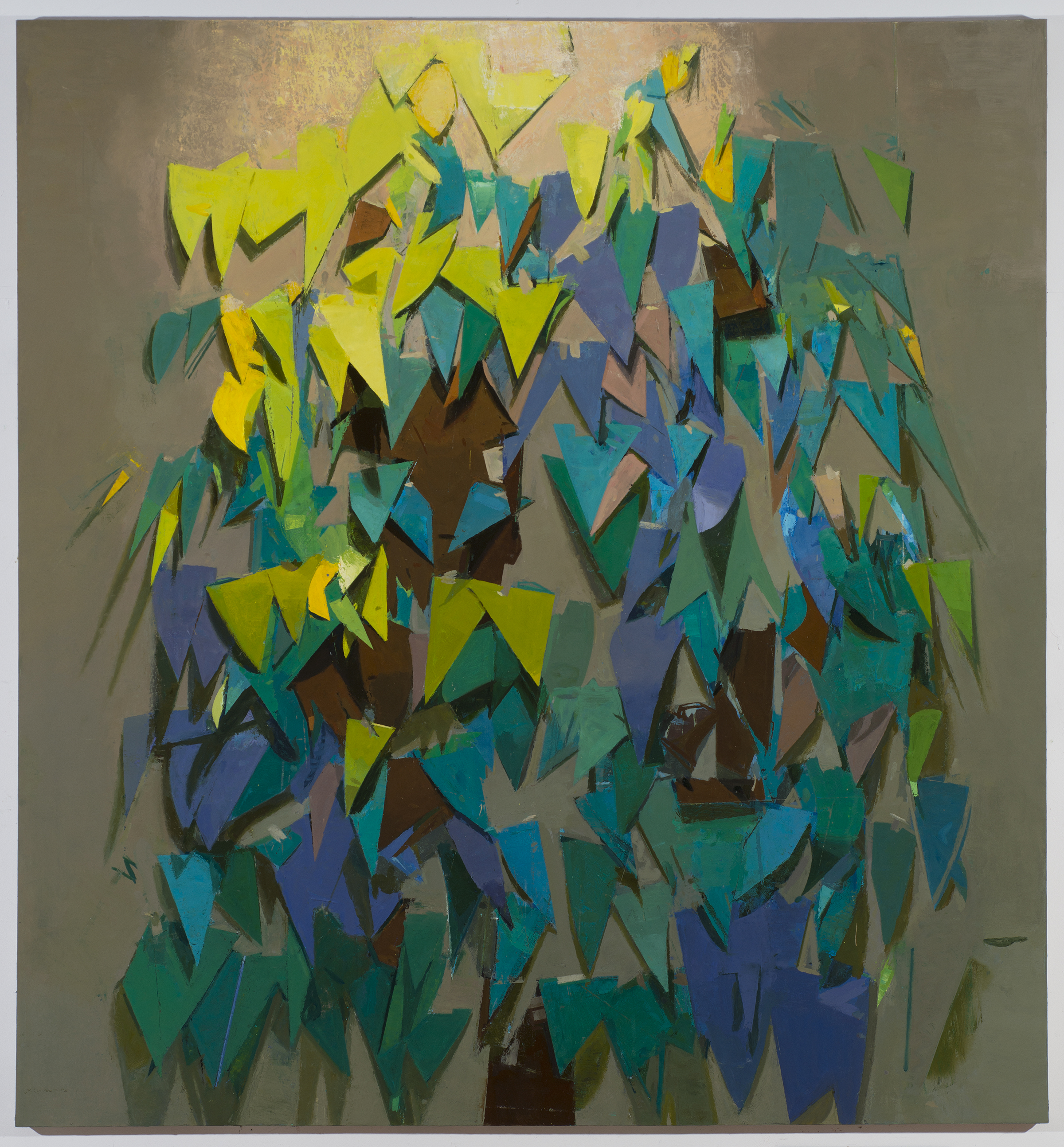 Sangram Majumdar,  paper tree , 2013, oil on linen, 72x66 in. Courtesy of the artist and Freight and Volume Gallery