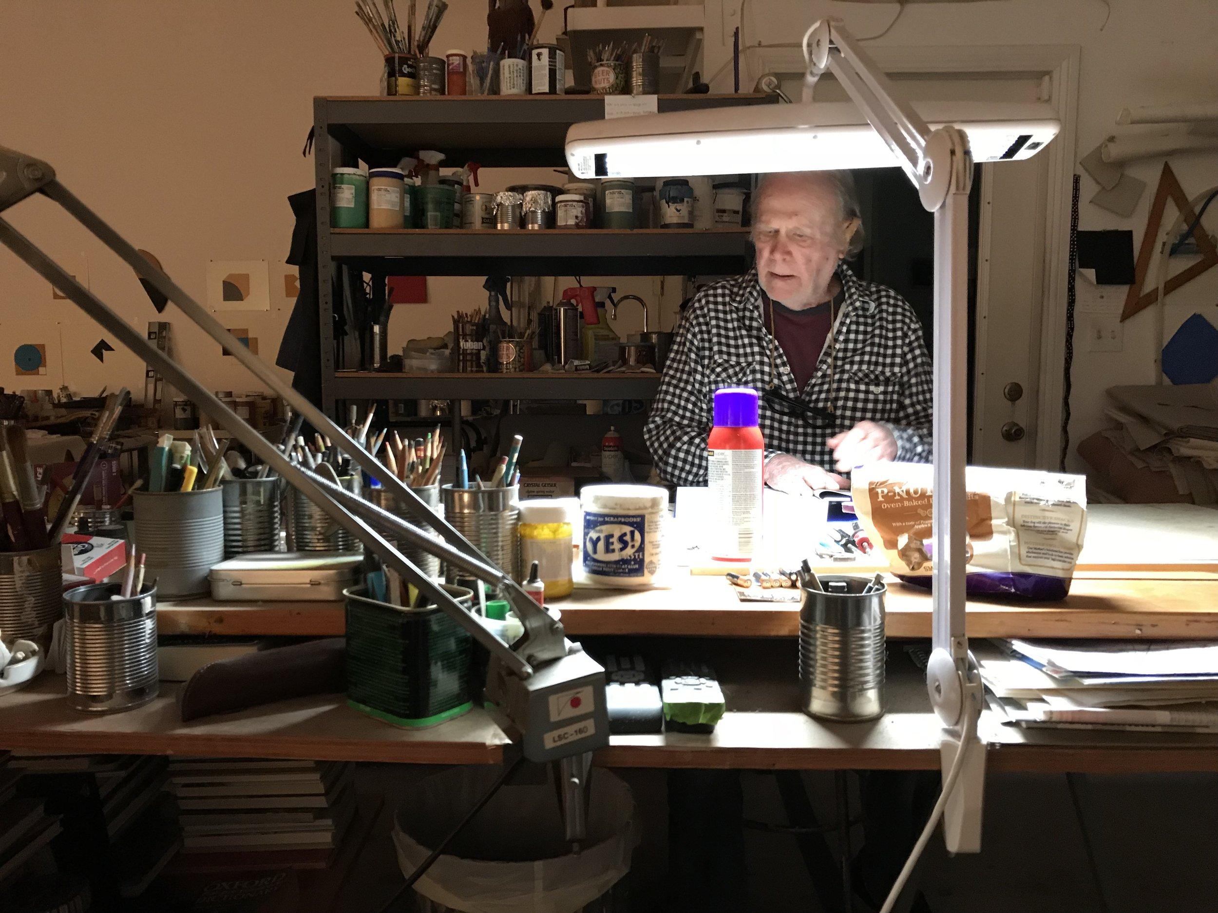 Tony DeLap in studio; courtesy of Parrasch Heijnen Gallery