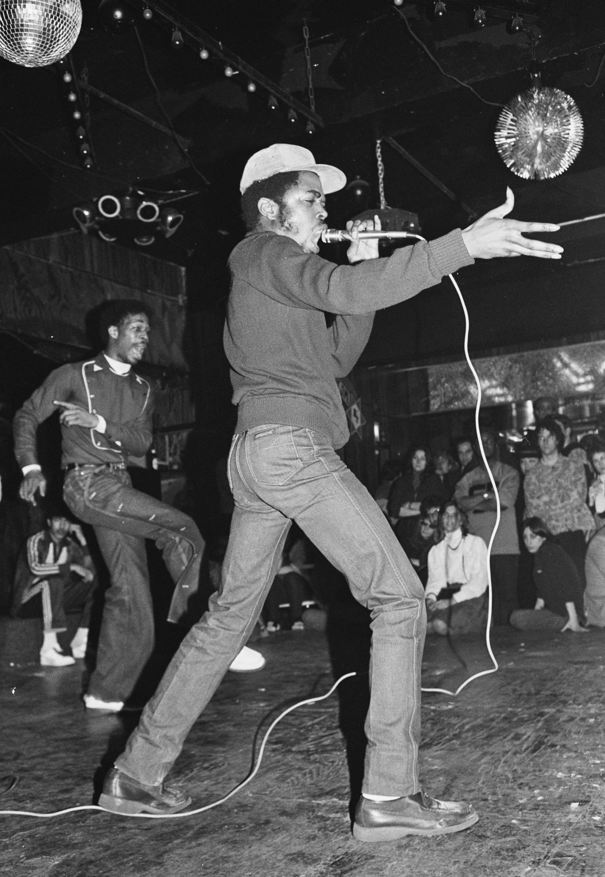 Joe Conzo ,  JDL (Jerry D. Lewis) of Cold Crush Brothers at Club Negril,  1981. Photo print. Courtesy of the Joe Conzo Archives. From upcoming exhibition   RESPECT: Hip-Hop Style & Wisdom .