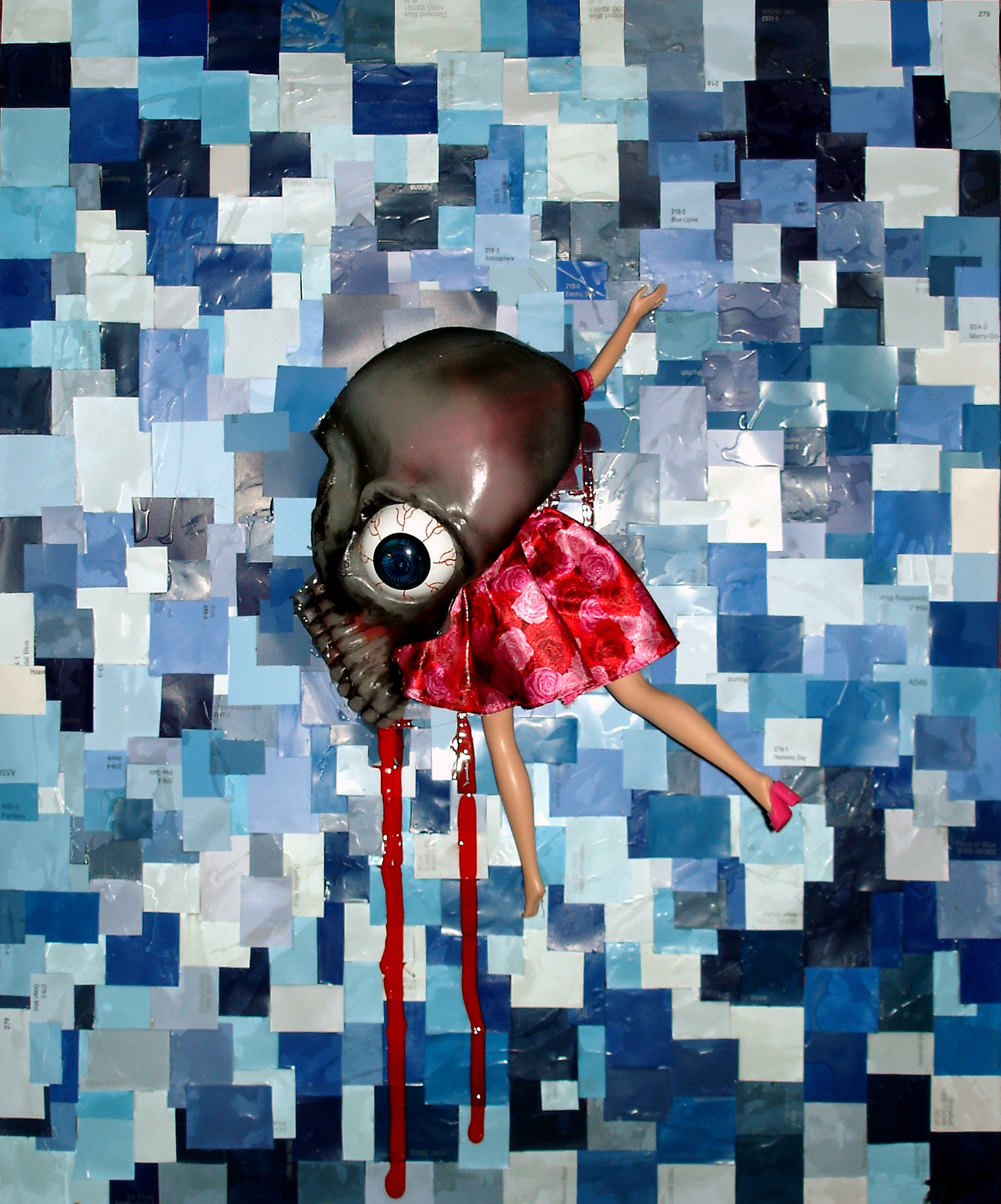 "The Pool , 2004, mixed media, 16 x 20""."
