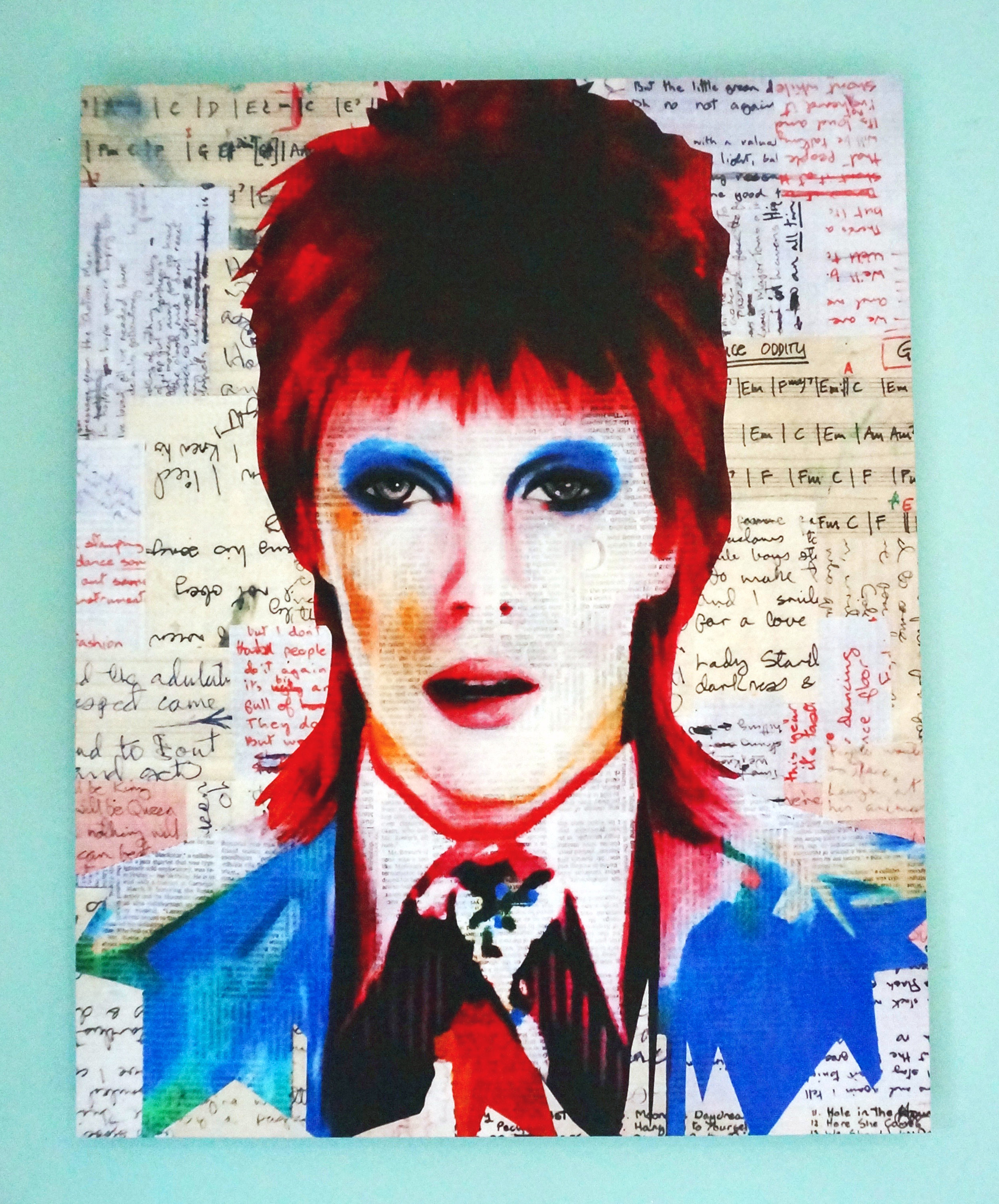 """After listening to 37 hours of David Bowie music after he died, Terrazzo created  Life On Mars, 2016, mixed media, 16 x 20""""."""