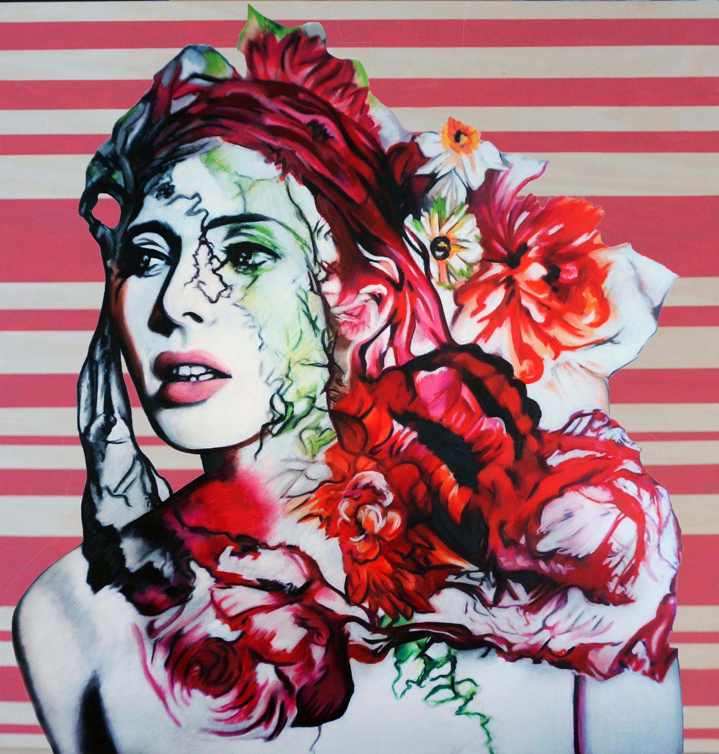 "Wildflowers, 2018, mixed media, 30 x 30""."