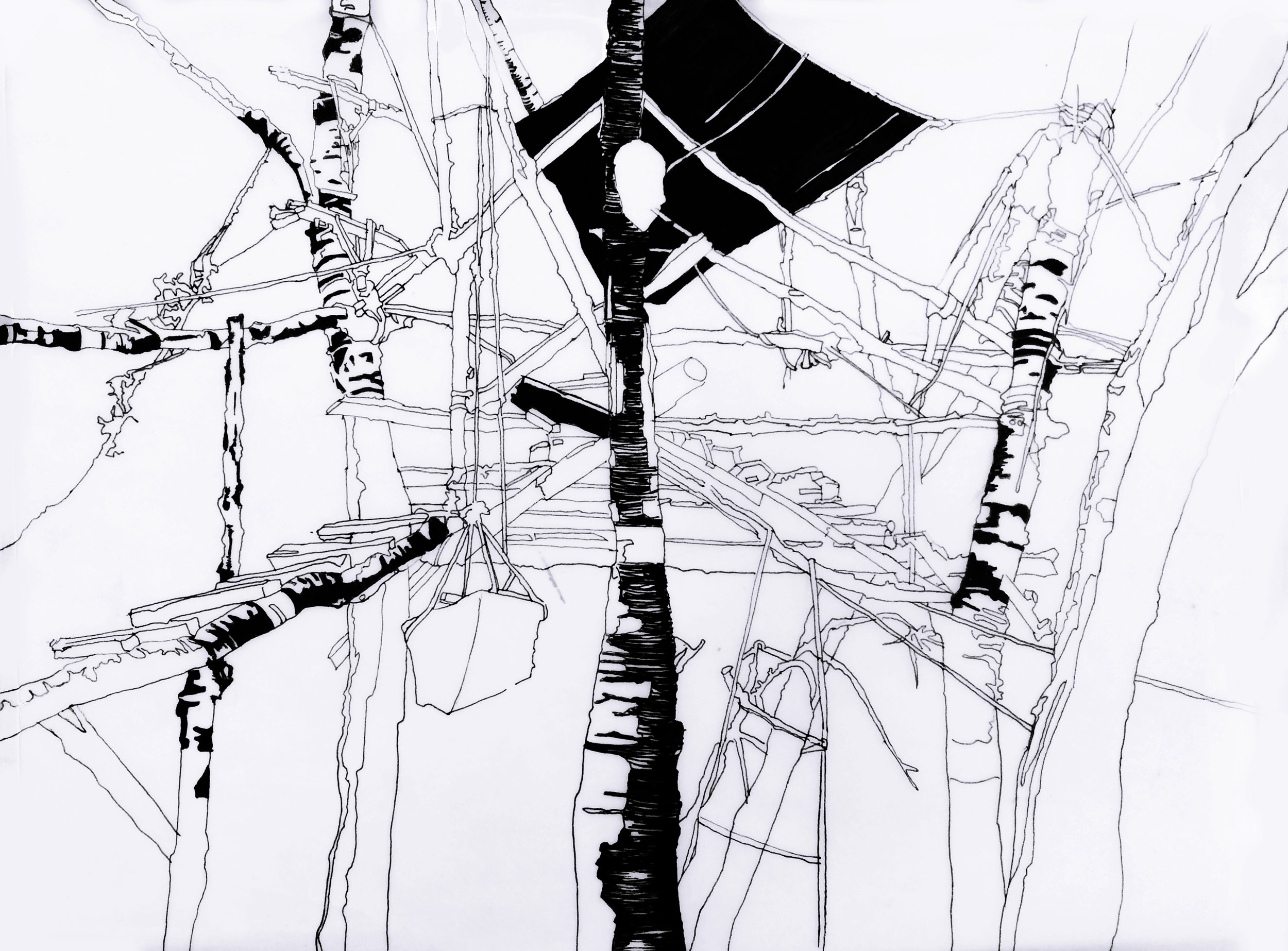 Badlands Treehouse (sketch), 2014, ink on vellum, 8 1/2 X 11 in.