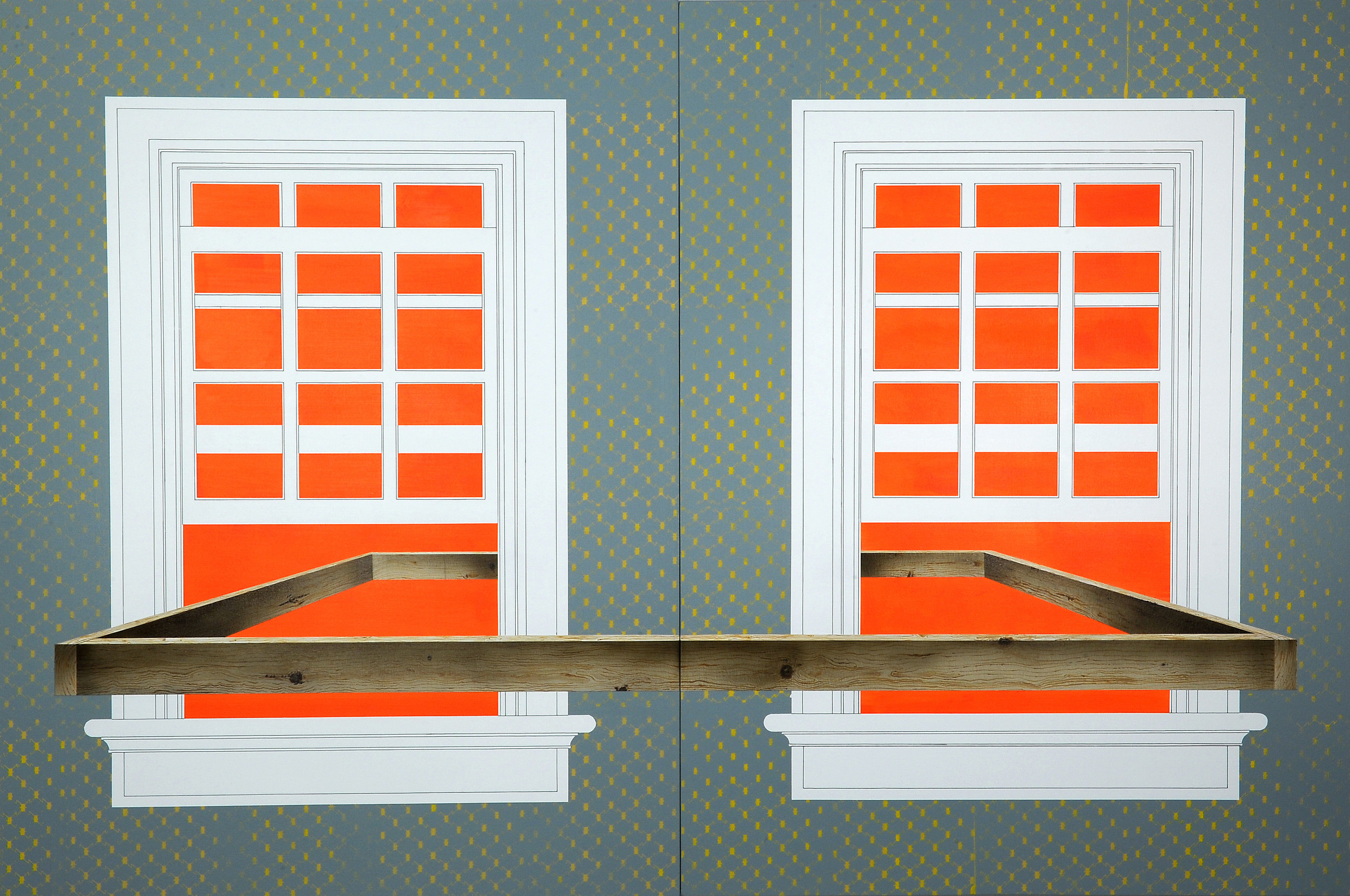 """Obstruction (Window No.1) , 2014. Acrylic on canvas over panel (diptych), each panel 64"""" x 48"""" / overall dimensions 64"""" x 96""""."""