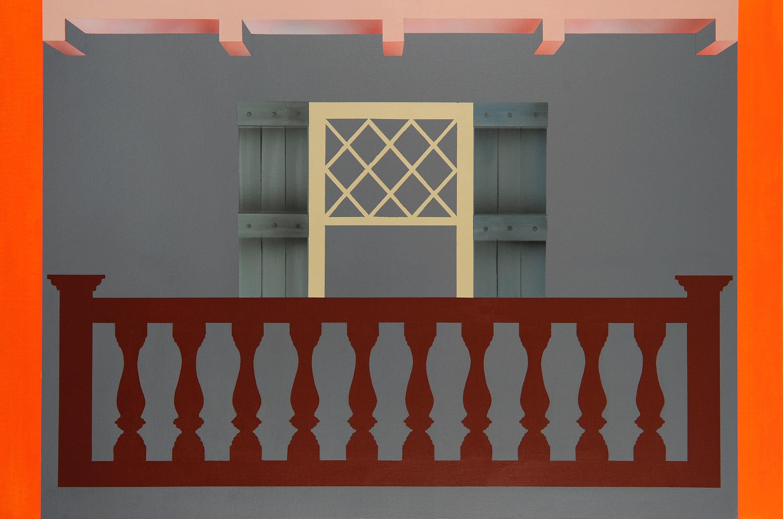 "Balcony , 2015. Acrylic on canvas over panel, 32"" x 48""."