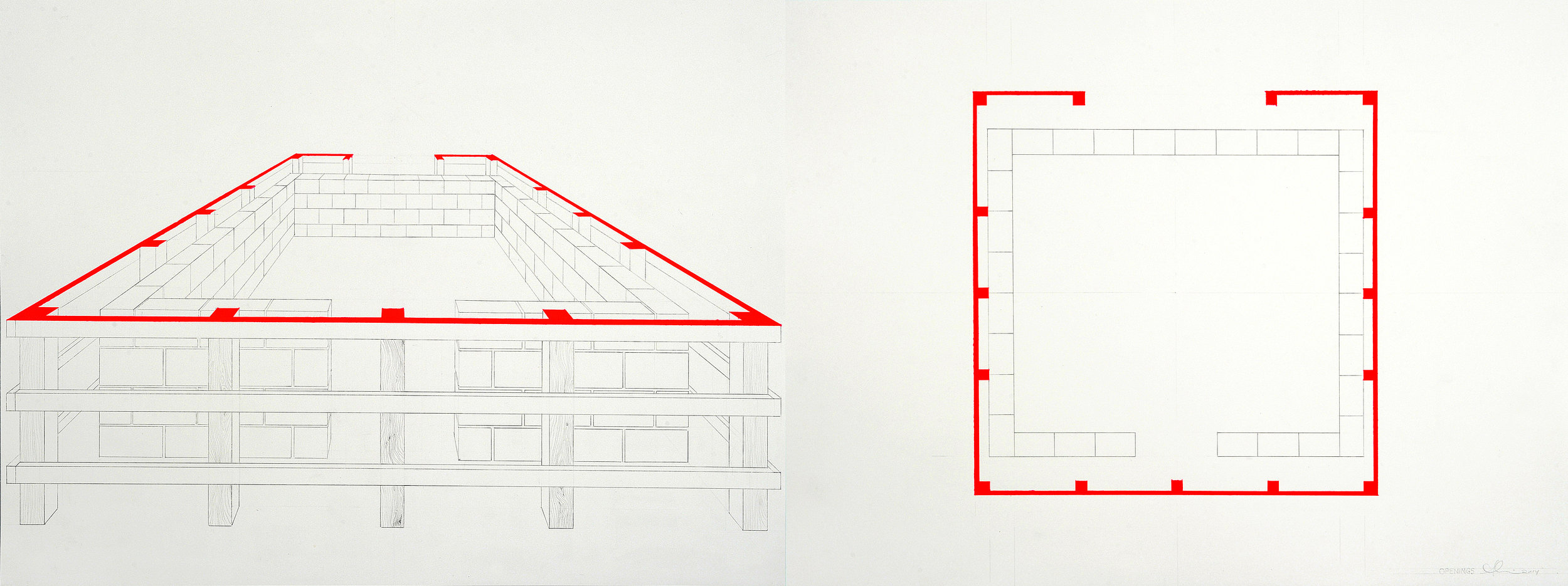 """Openings , 2014. Gouache and pencil on watercolor paper (diptych), each paper 18 1/8"""" x 24"""" ."""