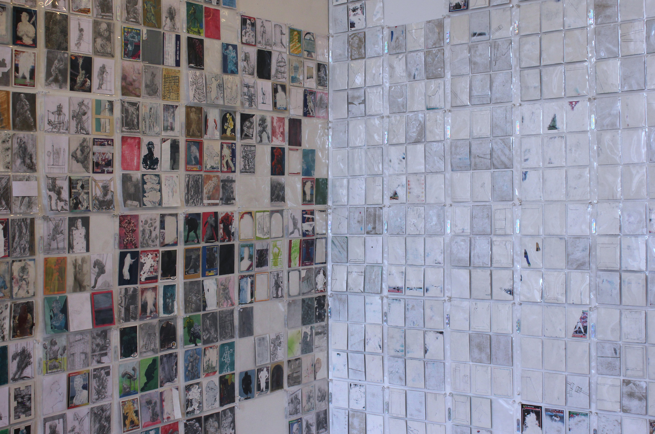 In studio:  Cards,  2016-18, graphite, ink, paint, paper, cardboard, plastic, dimensions variable.